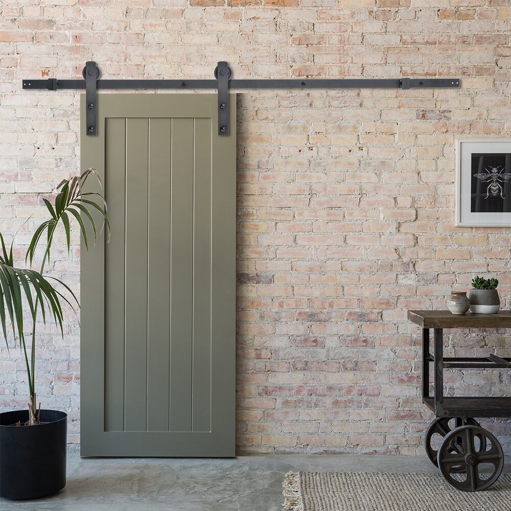 Calhome classic straight strap sliding door track barn for Barn doors and hardware reviews