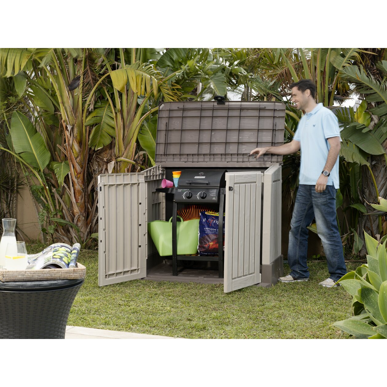 keter store it out midi ft w x ft d plastic horizontal garbage shed reviews wayfair. Black Bedroom Furniture Sets. Home Design Ideas