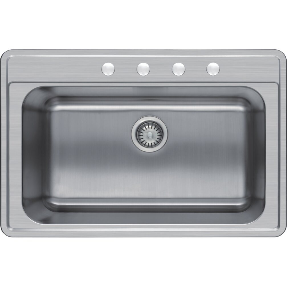 delightful Single Basin Kitchen Sink 33 X 22 #3: Winpro 33u0026quot; x 22u0026quot; Single Basin Drop-In Kitchen Sink