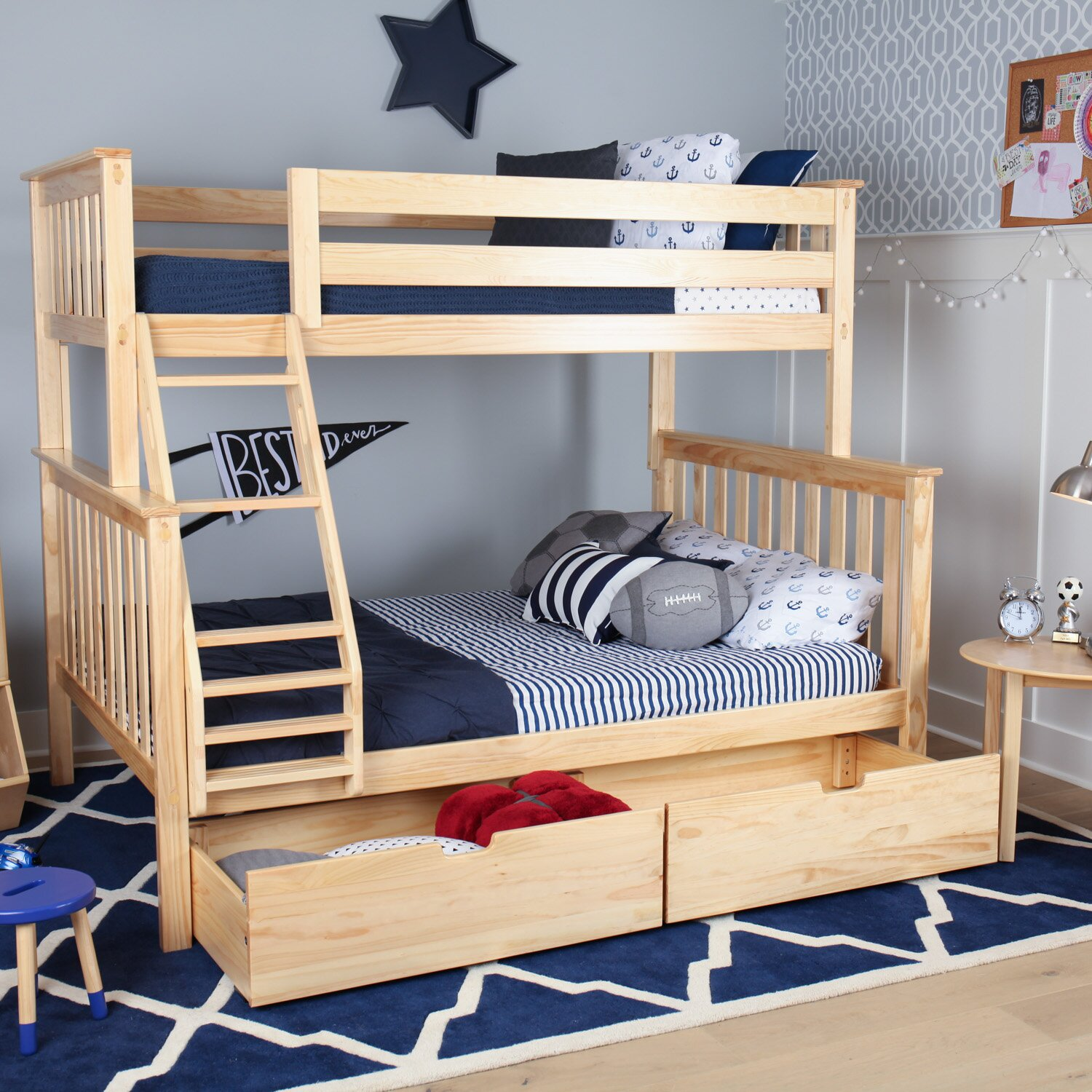 Max & Lily Solid Wood Twin Over Fulll Bunk Bed with Under