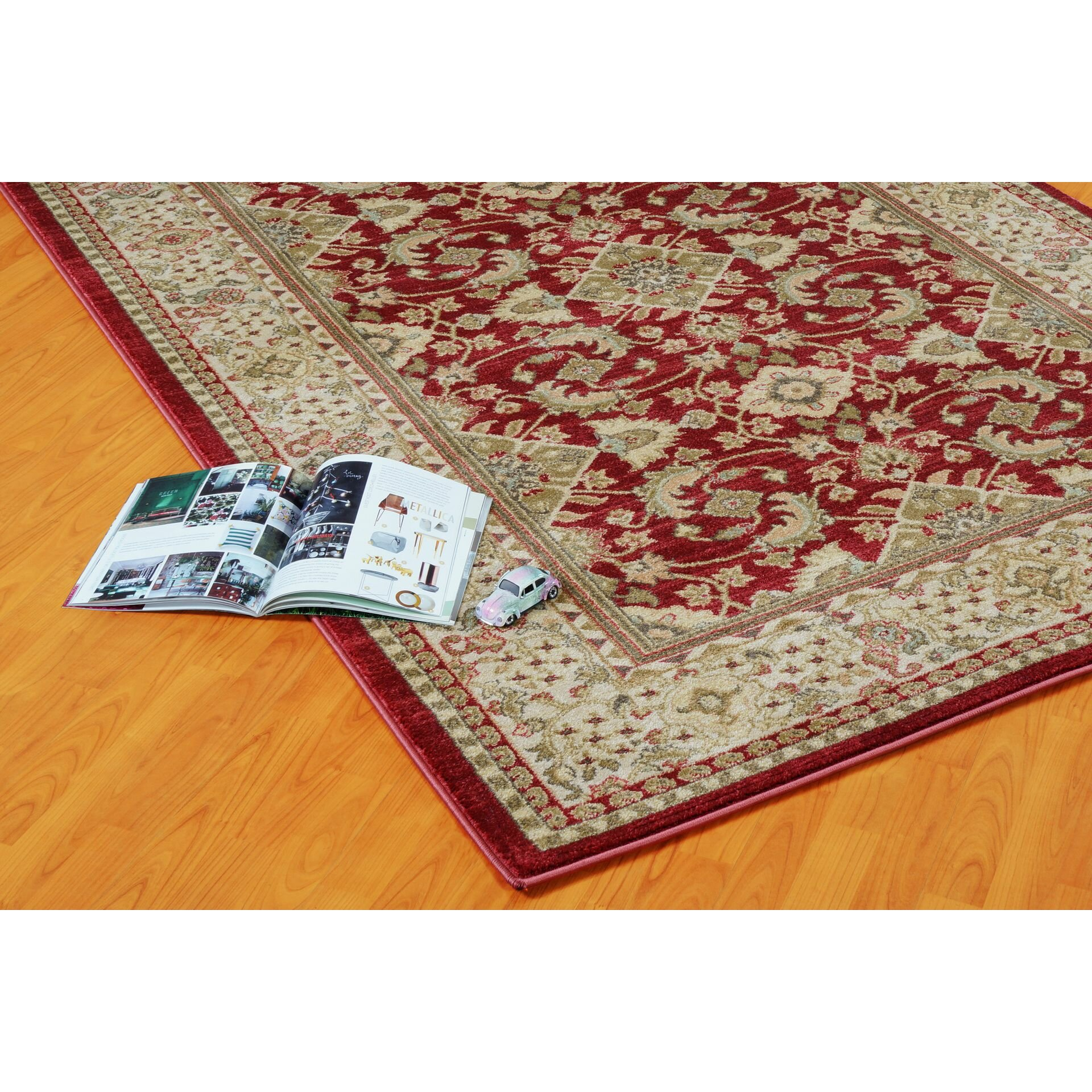 La dole rugs terra red cream area rug for Cream and red rugs
