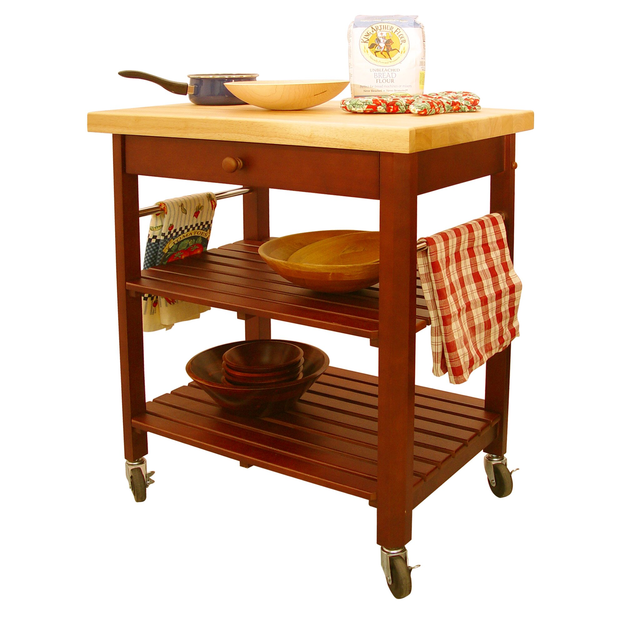 catskill craftsmen roll about kitchen cart with wood top  reviews, Kitchen design