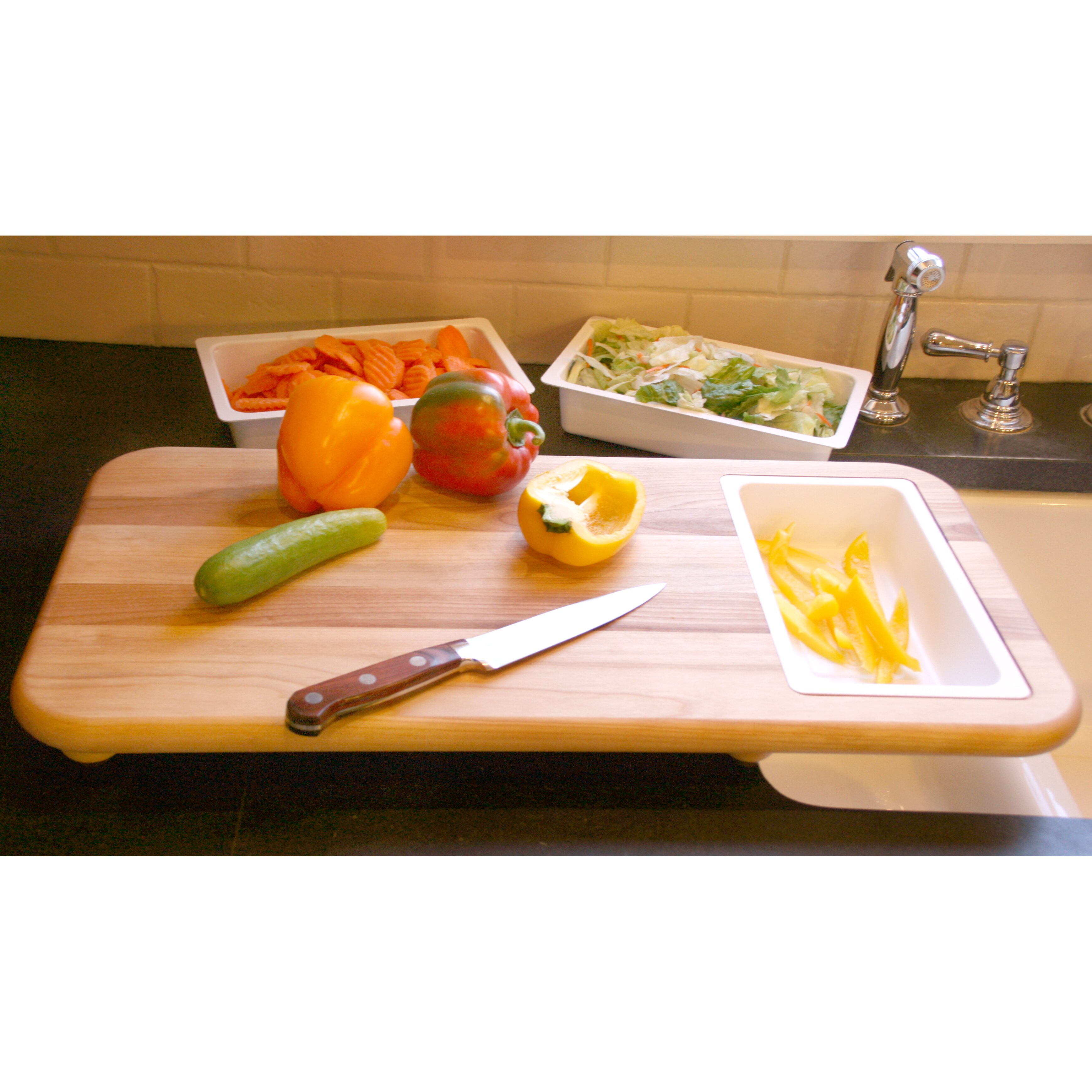 catskill craftsmen cut nu0027 catch over sink carver board with trays kitchen ideas