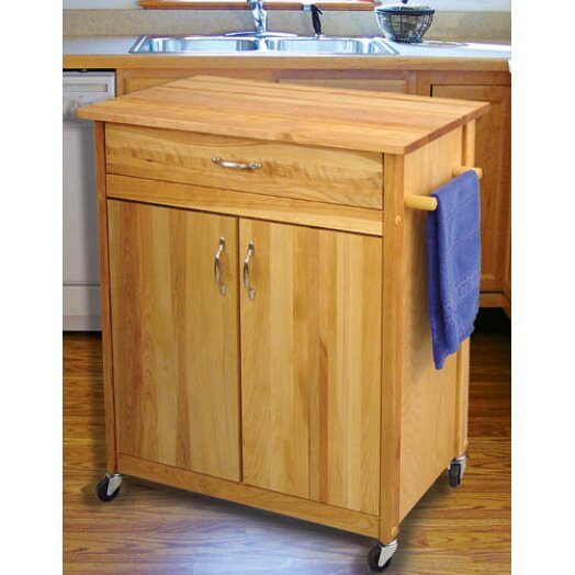 catskill craftsmen mid size kitchen cart with butcher block top, Kitchen design
