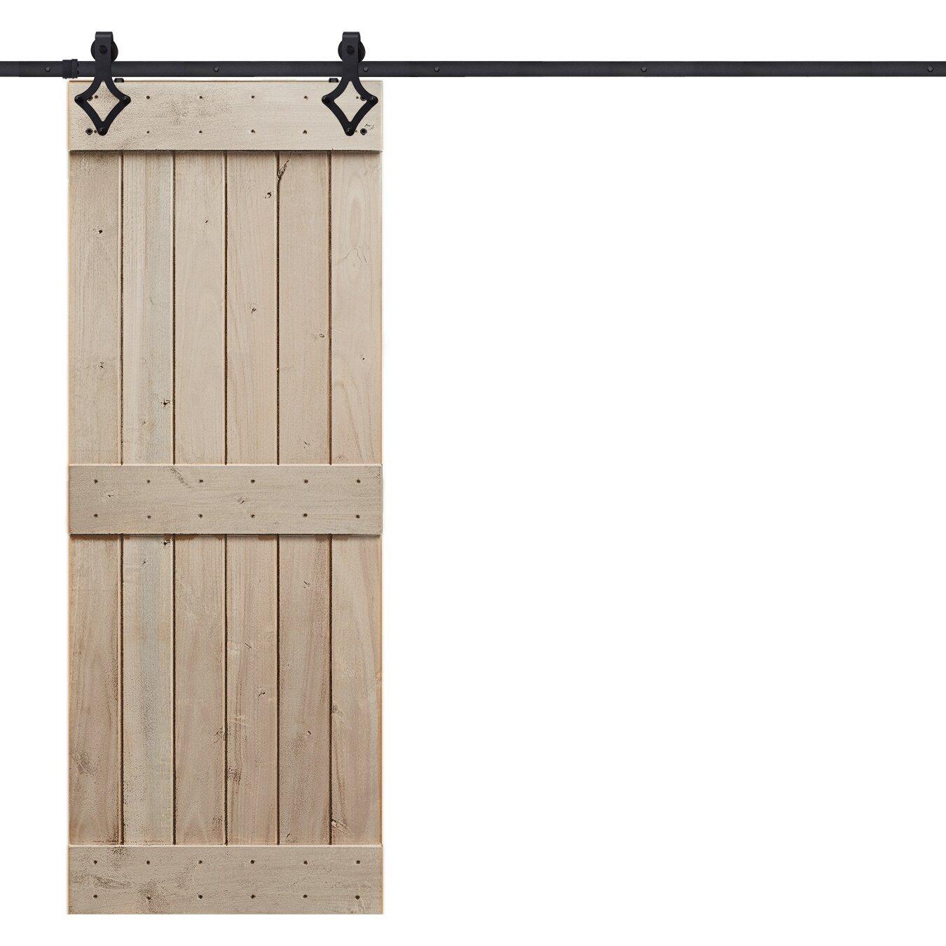 Barndoorz Rustic Knotty Alder Mid Rail Plank Wood Interior Barn Door