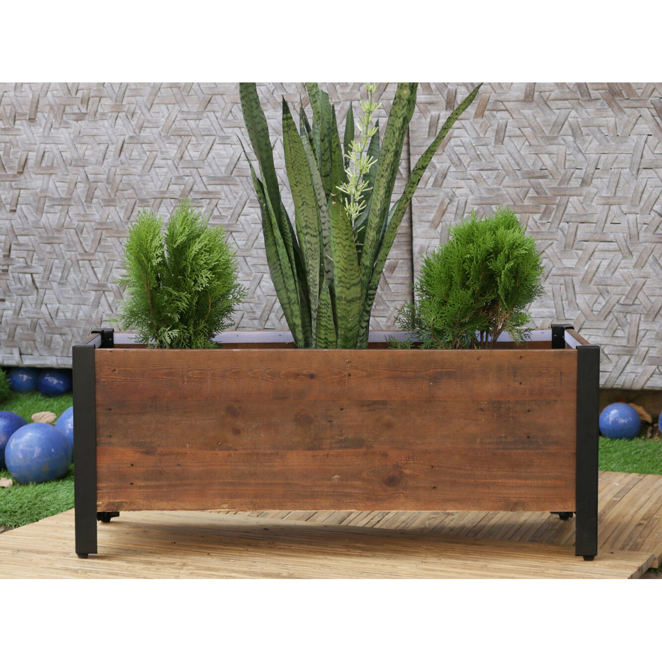 Grapevine Rectangular Urban Garden Recycled Wood Planter