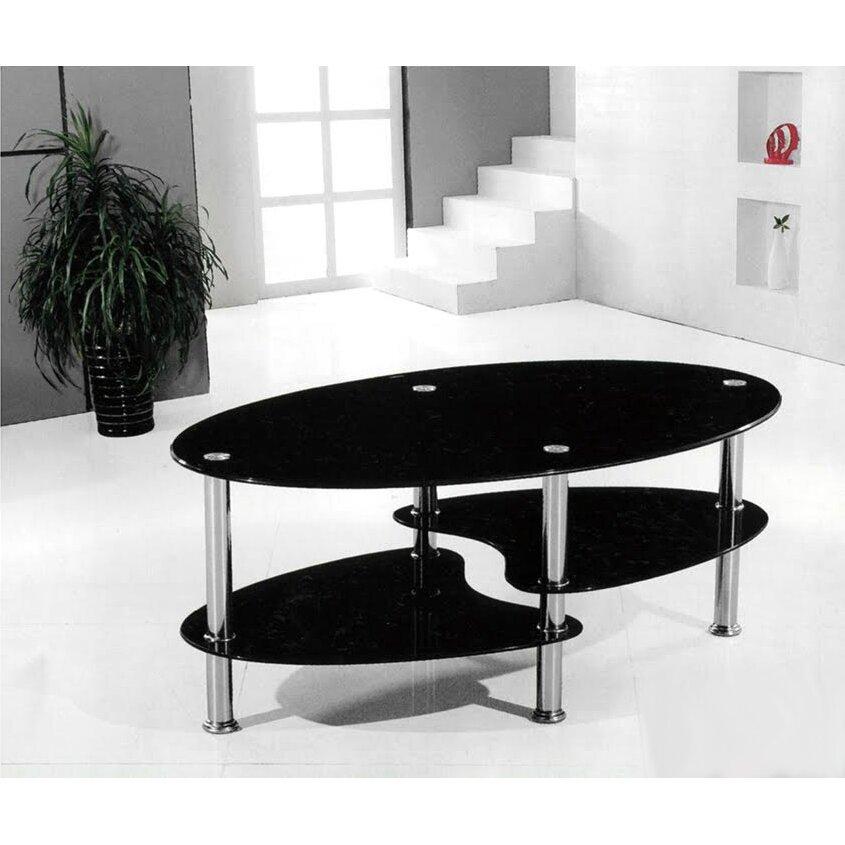 "Ebern Designs Odette 38"" Oval Two Tier Glass Coffee Table"