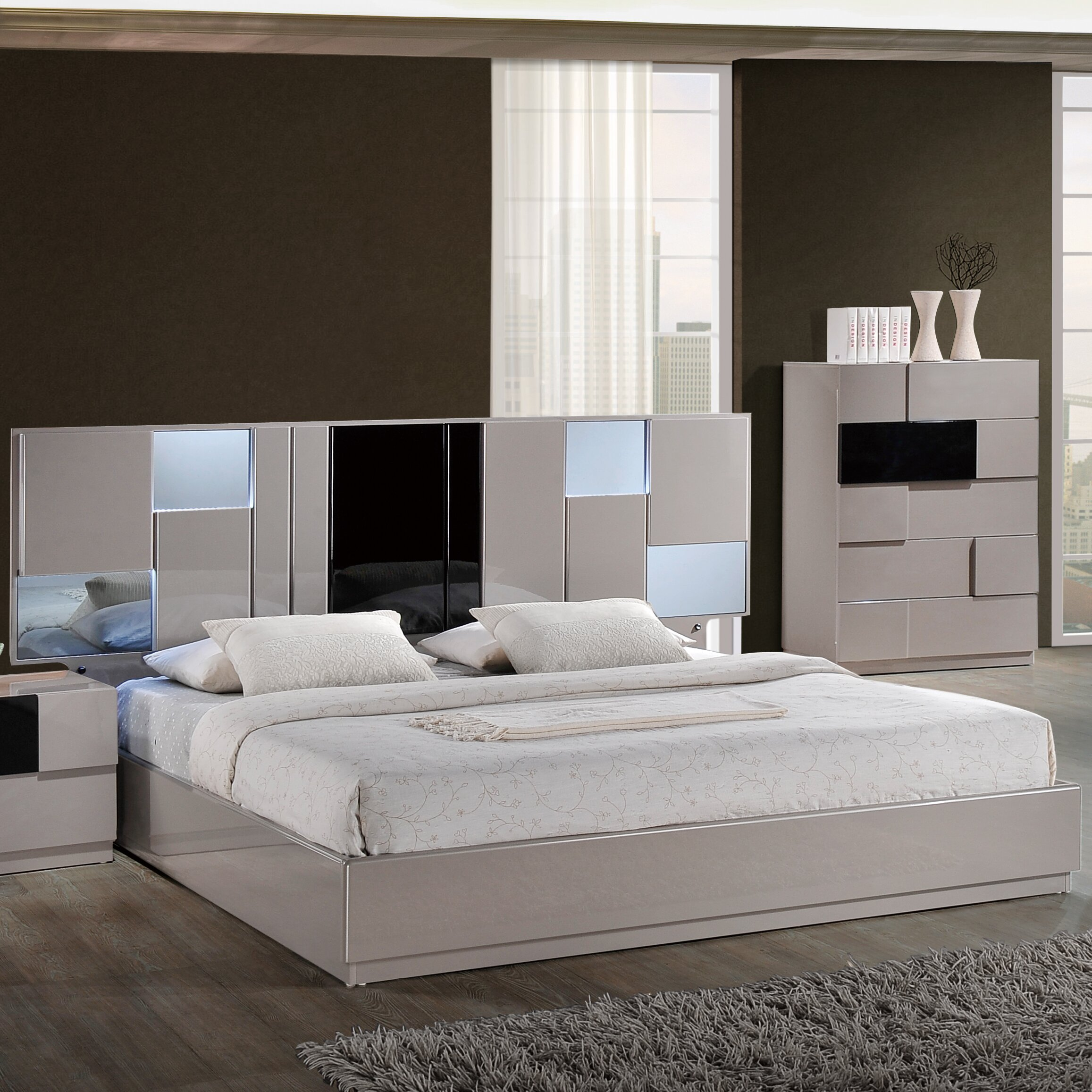 global furniture usa bianca panel customizable bedroom set