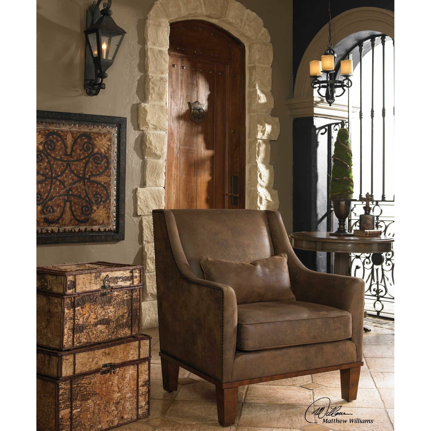 uttermost clay leather club chair - Brown Leather Club Chair