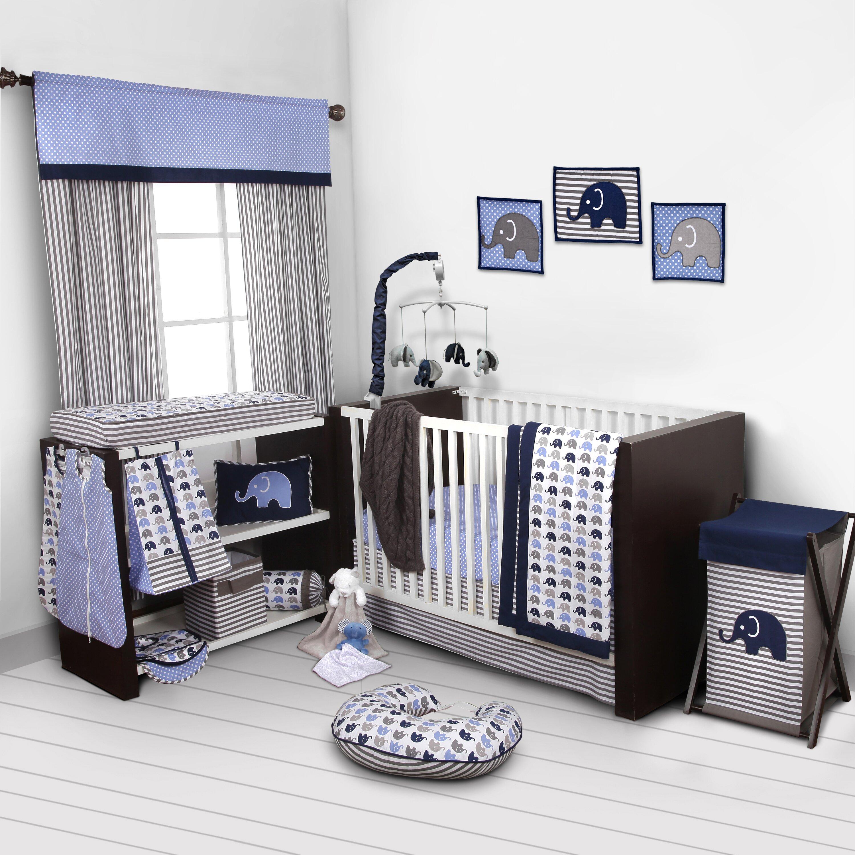 bacati elephants 10 piece crib bedding set & reviews | wayfair