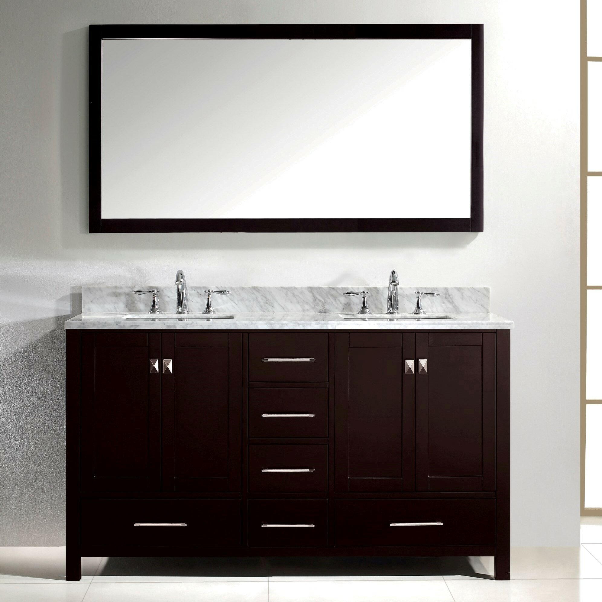 Caroline Avenue 60  Double Bathroom Vanity Set with Carrara White Top and  Mirror. Bathroom Vanities You ll Love   Wayfair