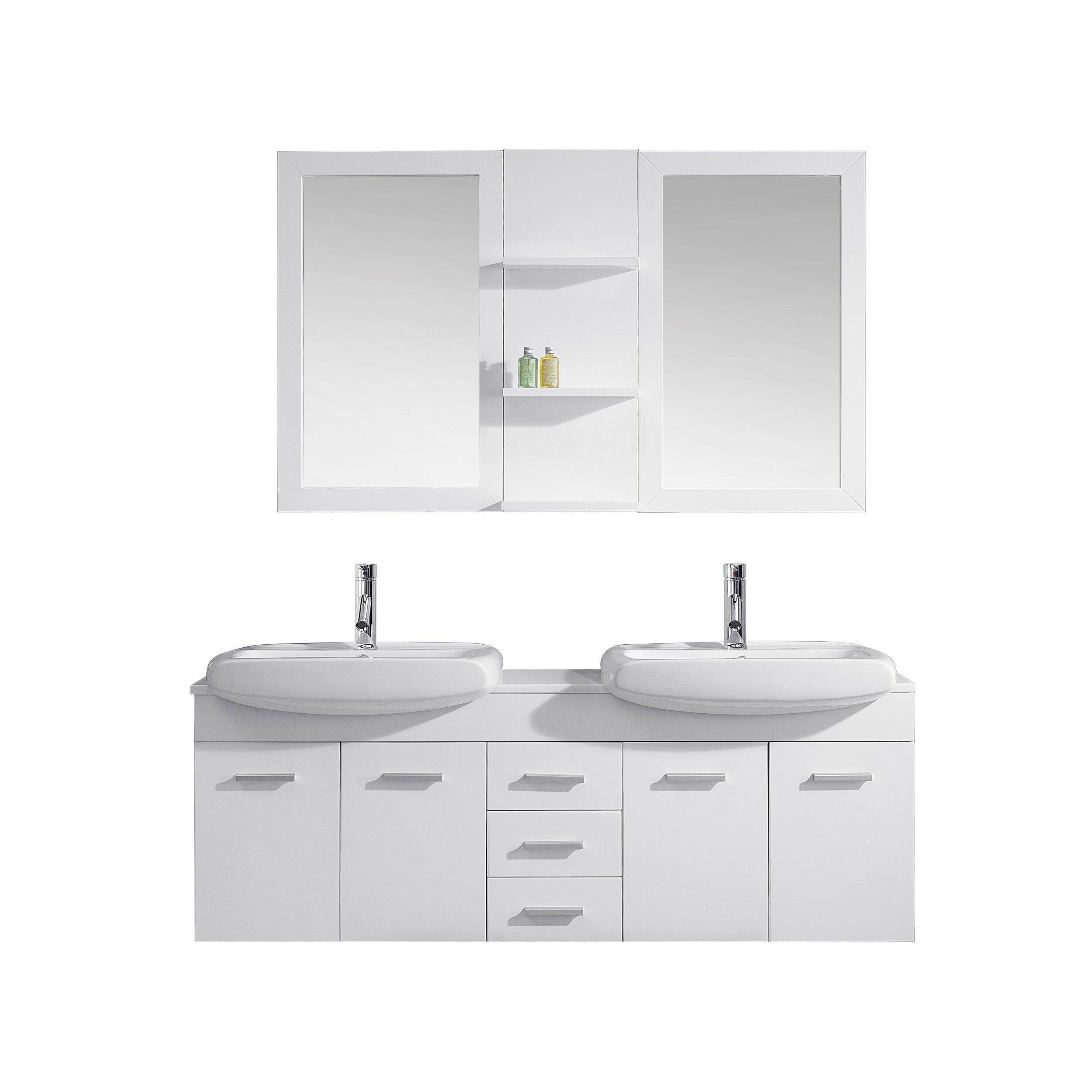 Virtu Ultra Modern Series 59 Double Bathroom Vanity Set