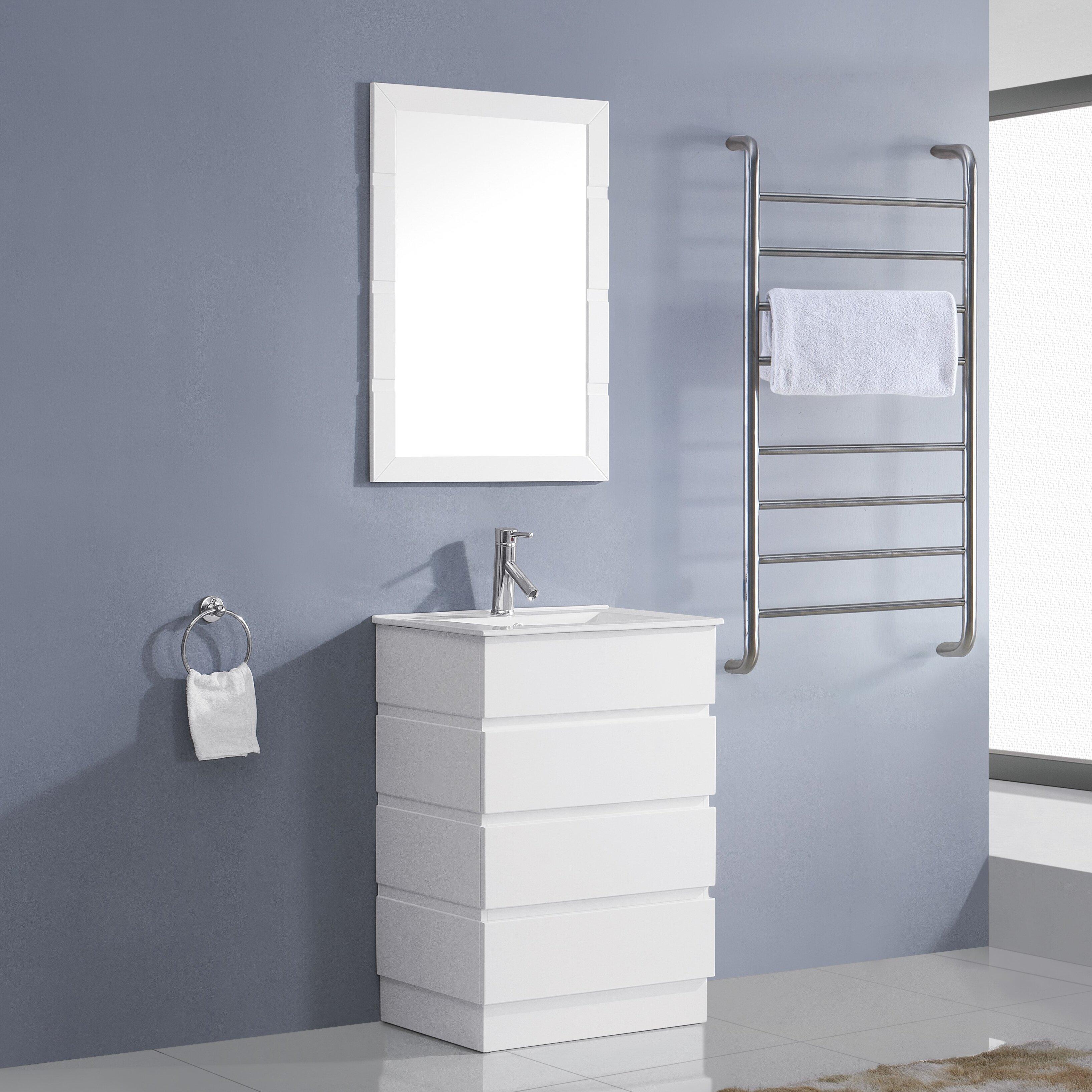 Virtu Bruno 24 Single Contemporary Bathroom Vanity Set With Ceramic Top And Mirror Reviews