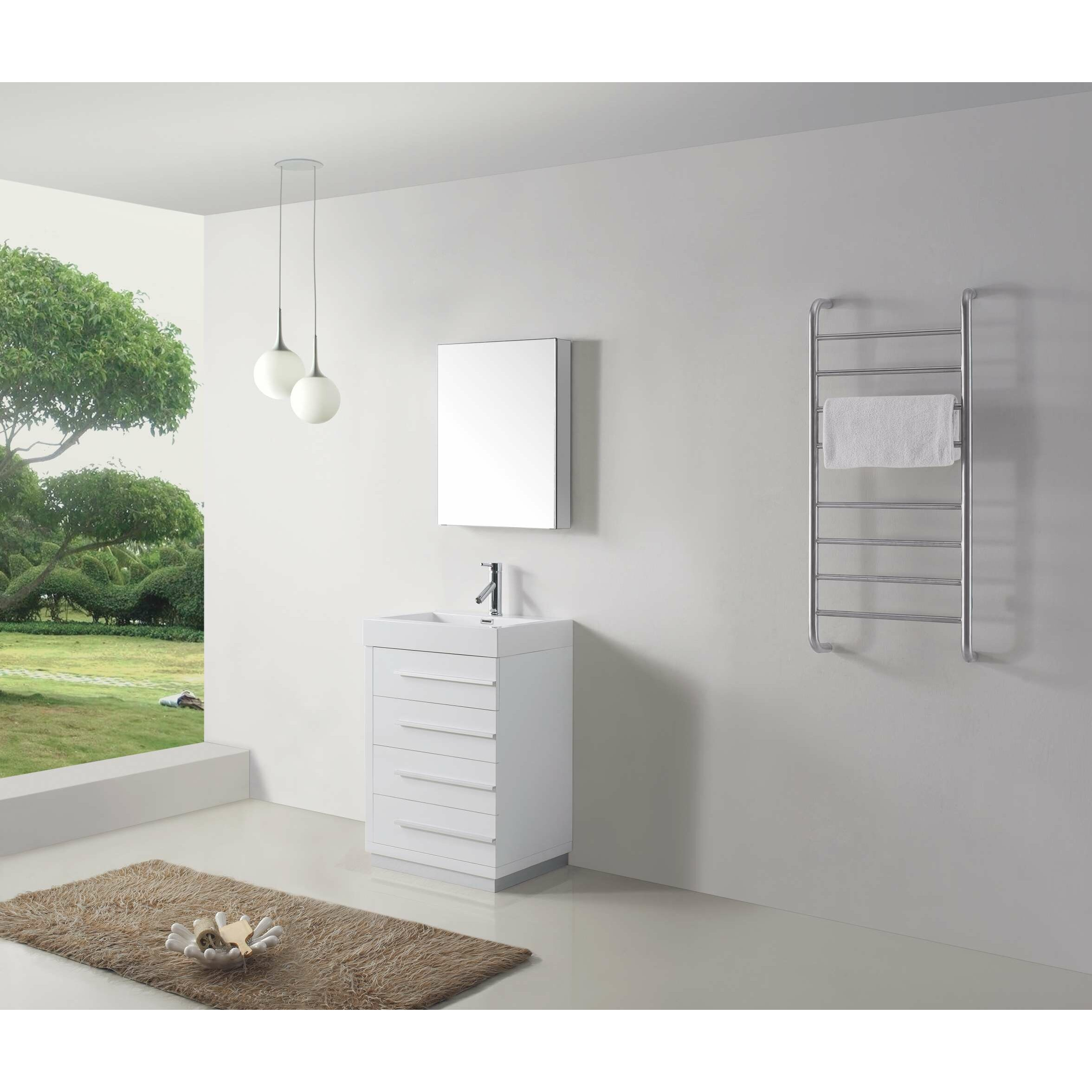 White Floor Bathroom Cabinet Virtu Bailey 226 Single Bathroom Vanity Set With White Top And