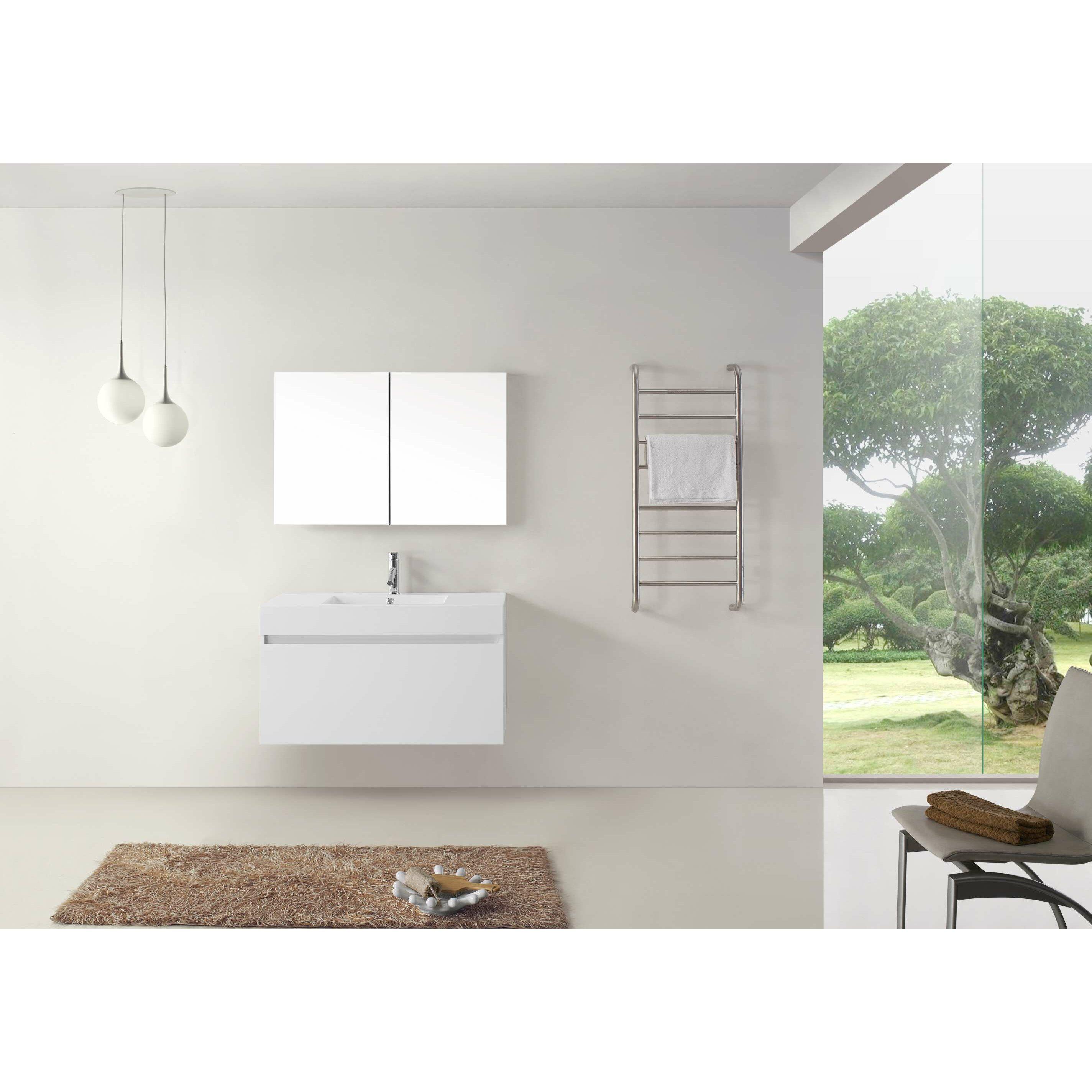 virtu zuri 39quot single bathroom vanity set with white top and mirror - Ensemble Vanite Armoire