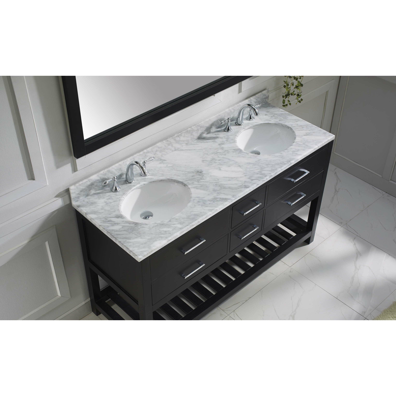 Virtu Caroline Estate 60 8 Double Bathroom Vanity Set With White Carrara Top And Mirror