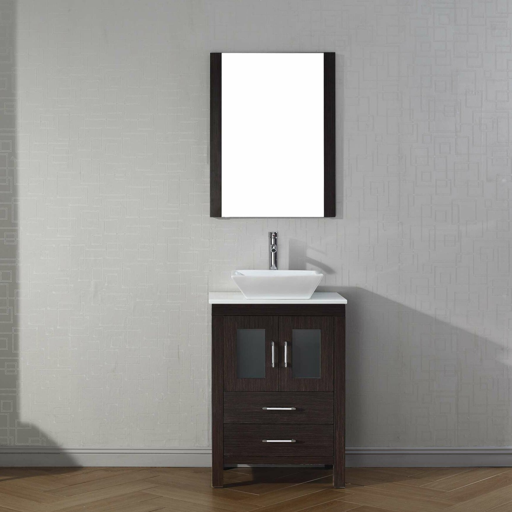 """virtu dior 25"""" single bathroom vanity set with mirror & reviews"""