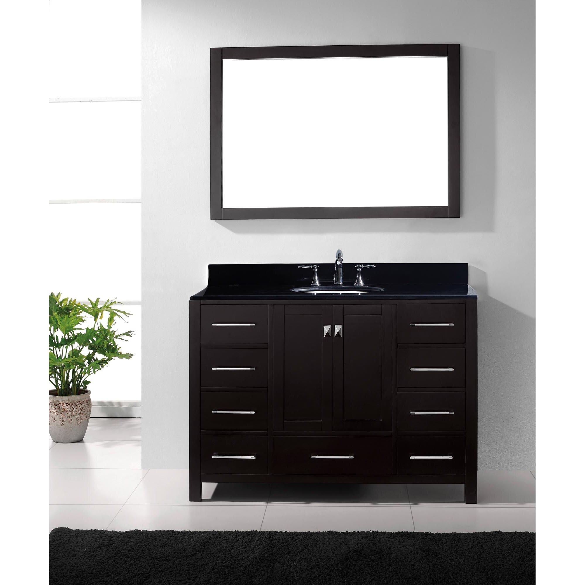 avenue 49 single bathroom vanity set with black galaxy top and mirror