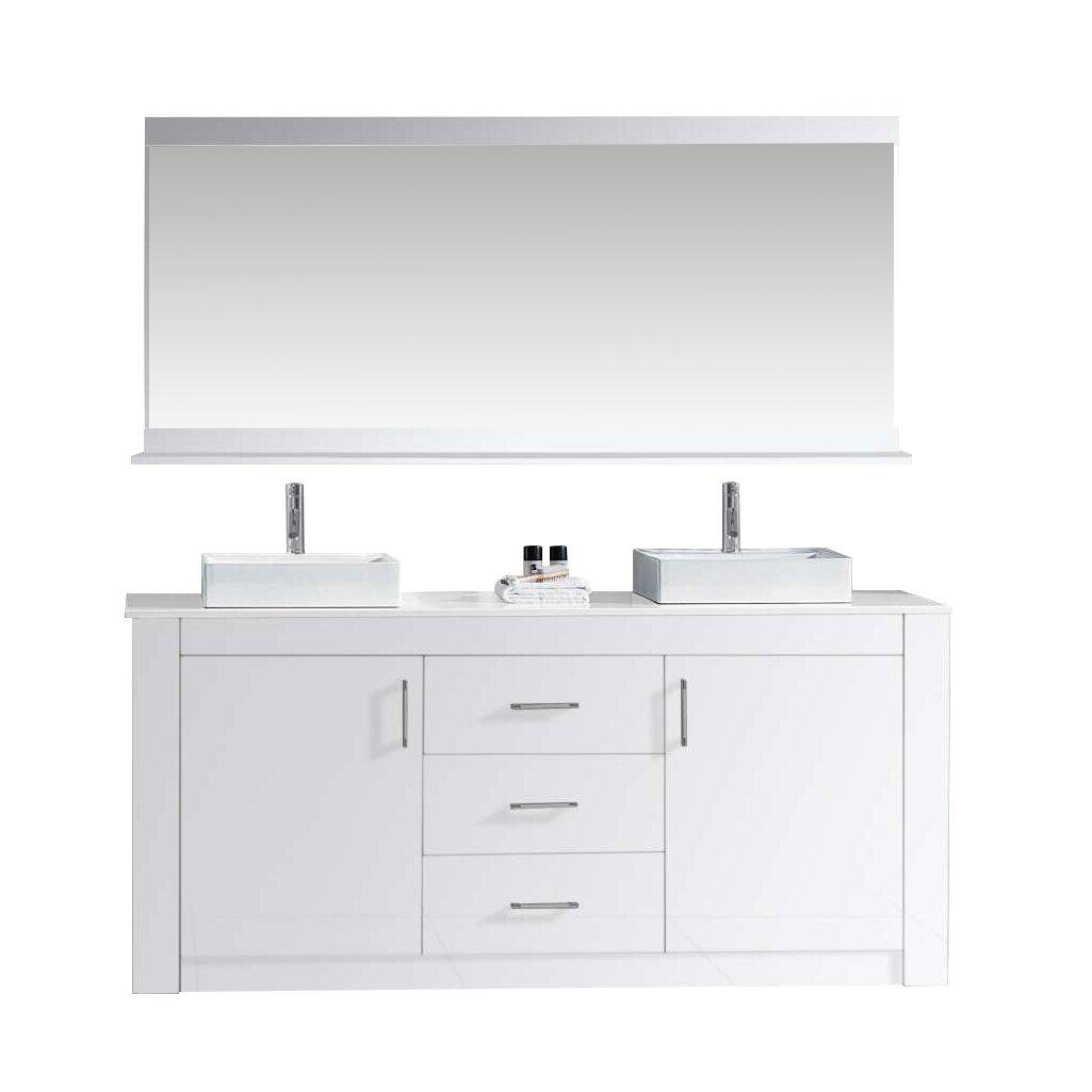Virtu tavian 60 double bathroom vanity set with white top for Vanity and mirror set