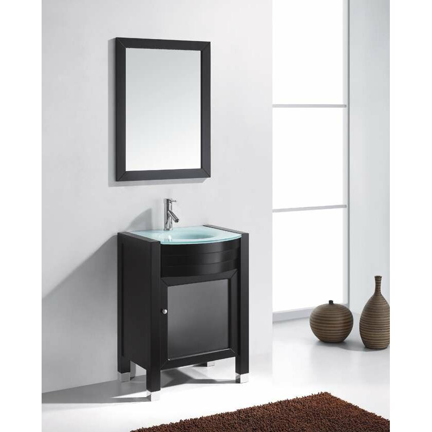Simple Virtu Ultra Modern Series 24quot Single Bathroom Vanity Set With Mirror