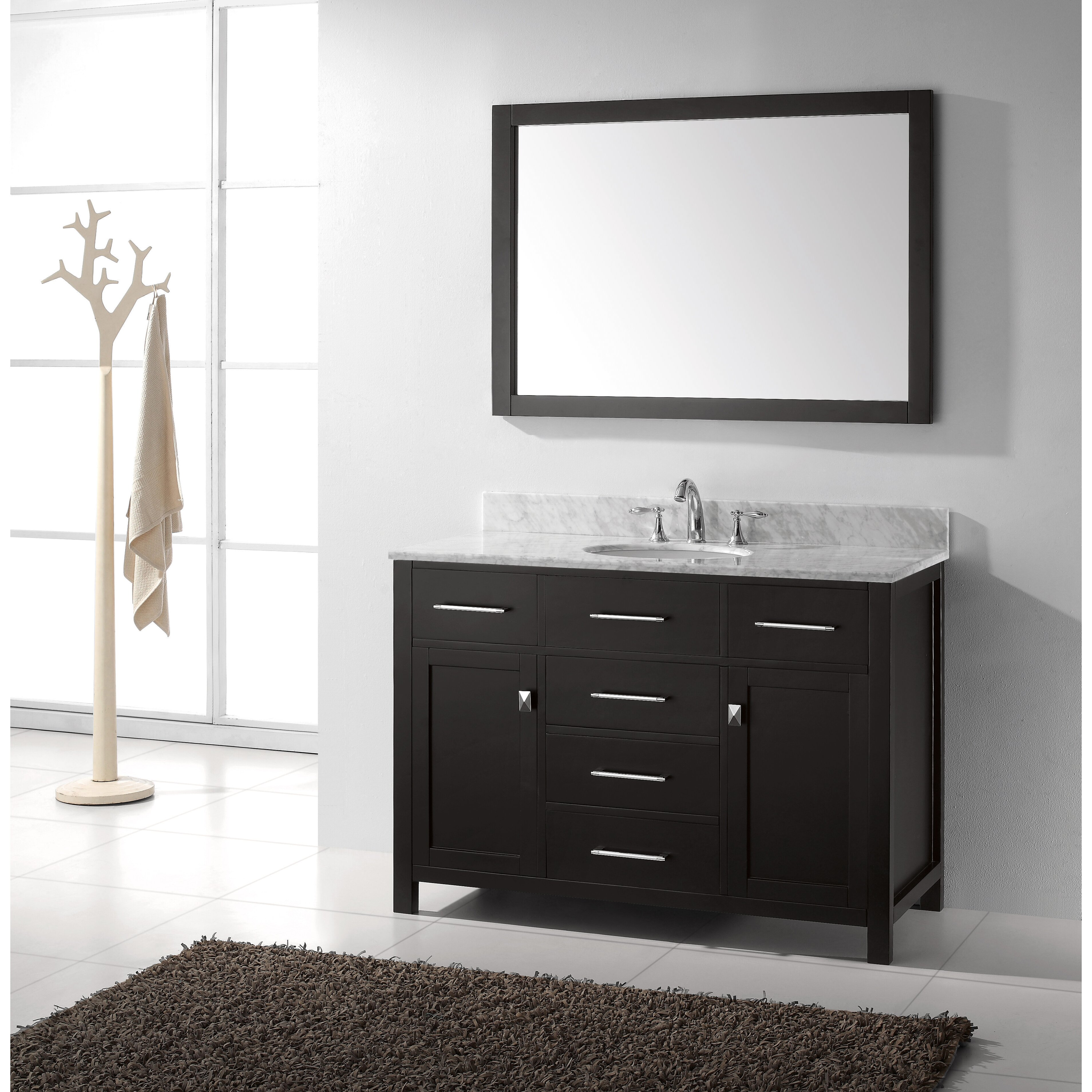Vanity Tile Top : Virtu caroline quot single bathroom vanity set with carrara