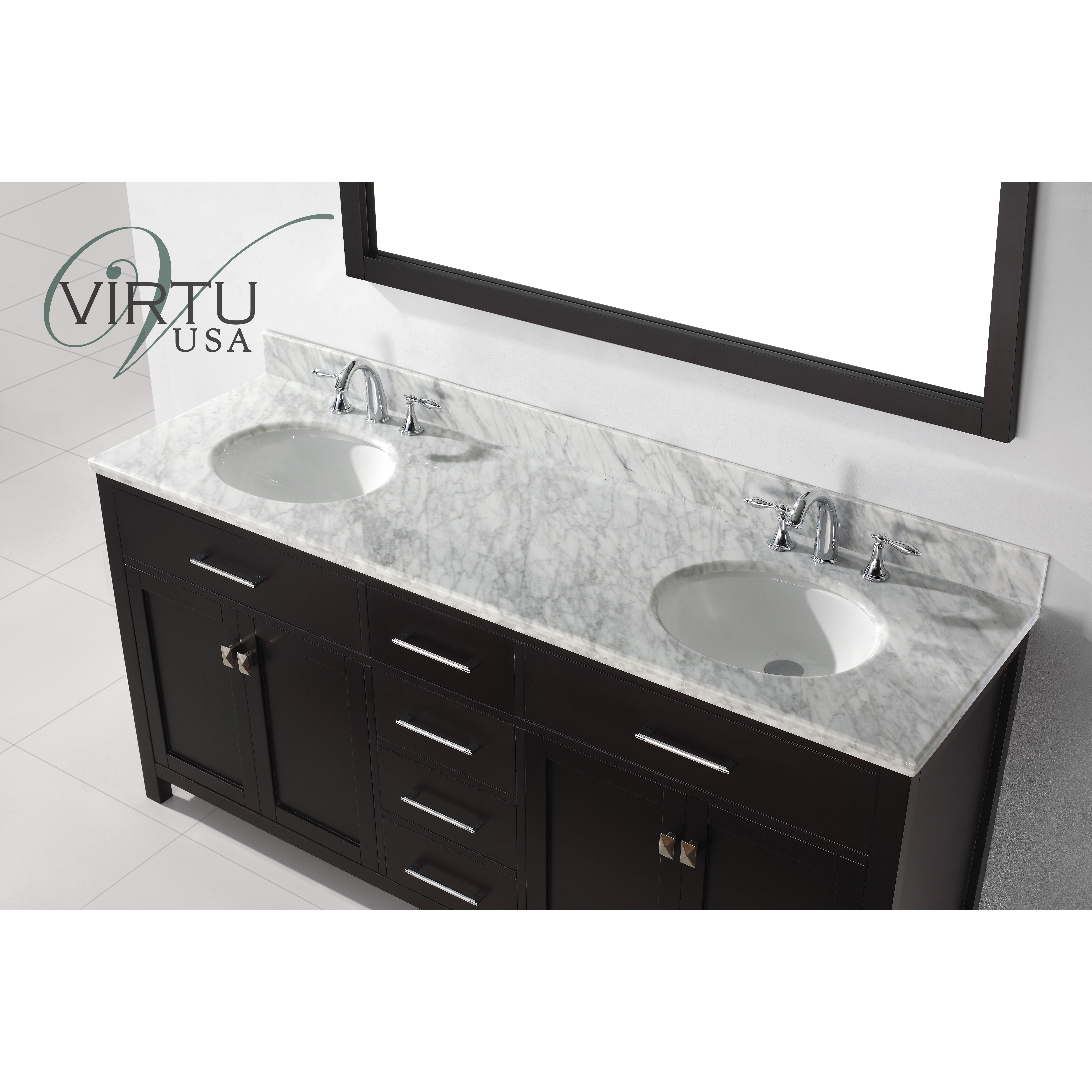 virtu caroline 72quot double bathroom vanity set with carrara white top and mirror - Ensemble Vanite Armoire