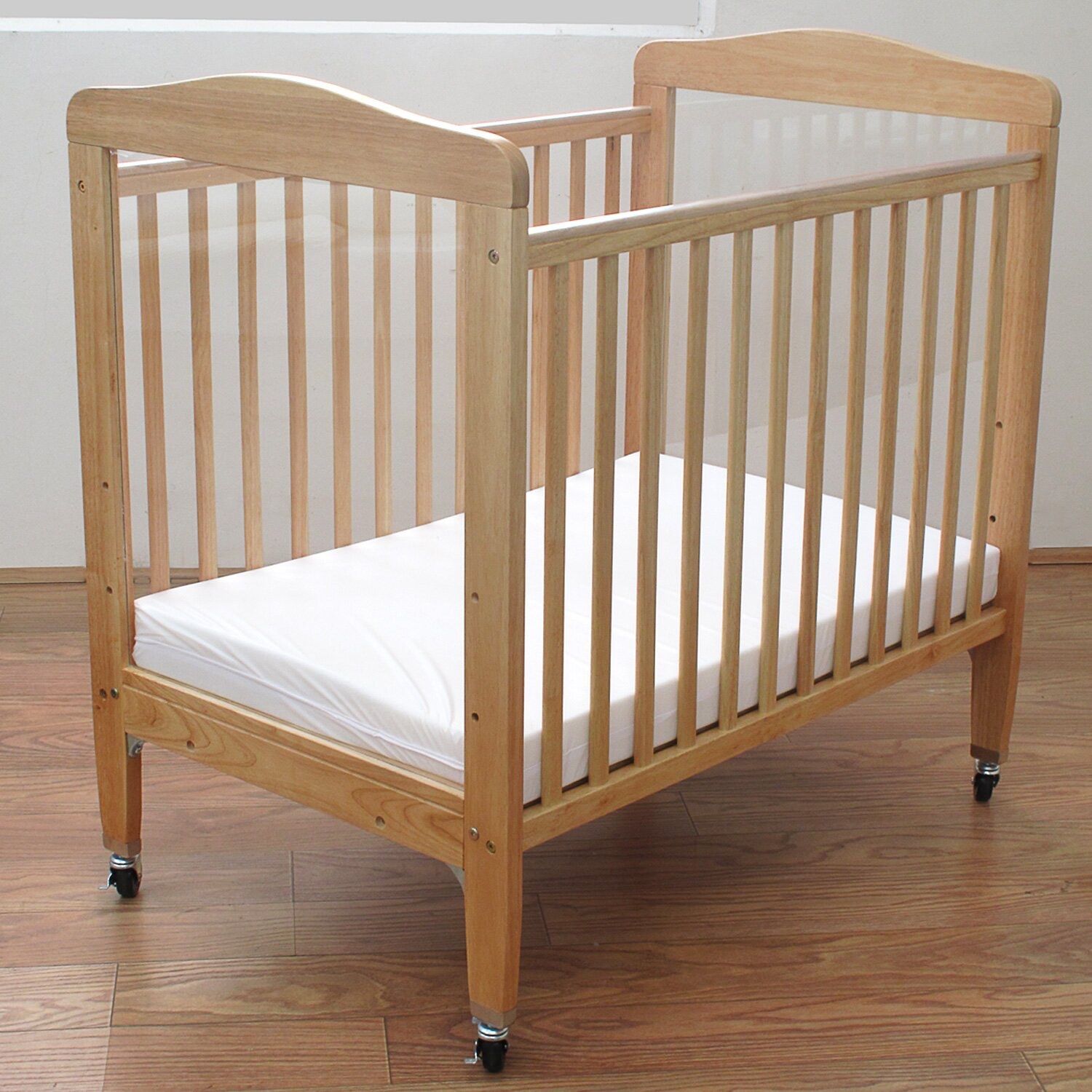 Baby cribs for daycare centers - L A Baby Compact Wooden Window Convertible Crib With Mattress