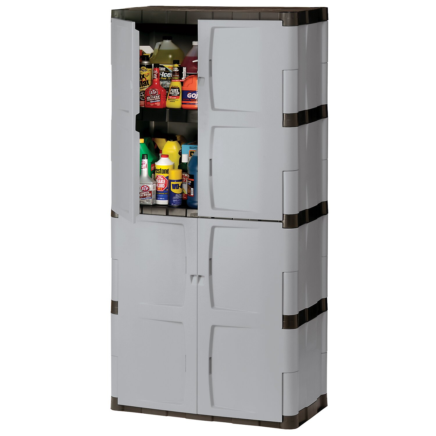 Resin Utility Cabinet Rubbermaid 72 H X 36 W X 18 D Full Double Door Cabinet