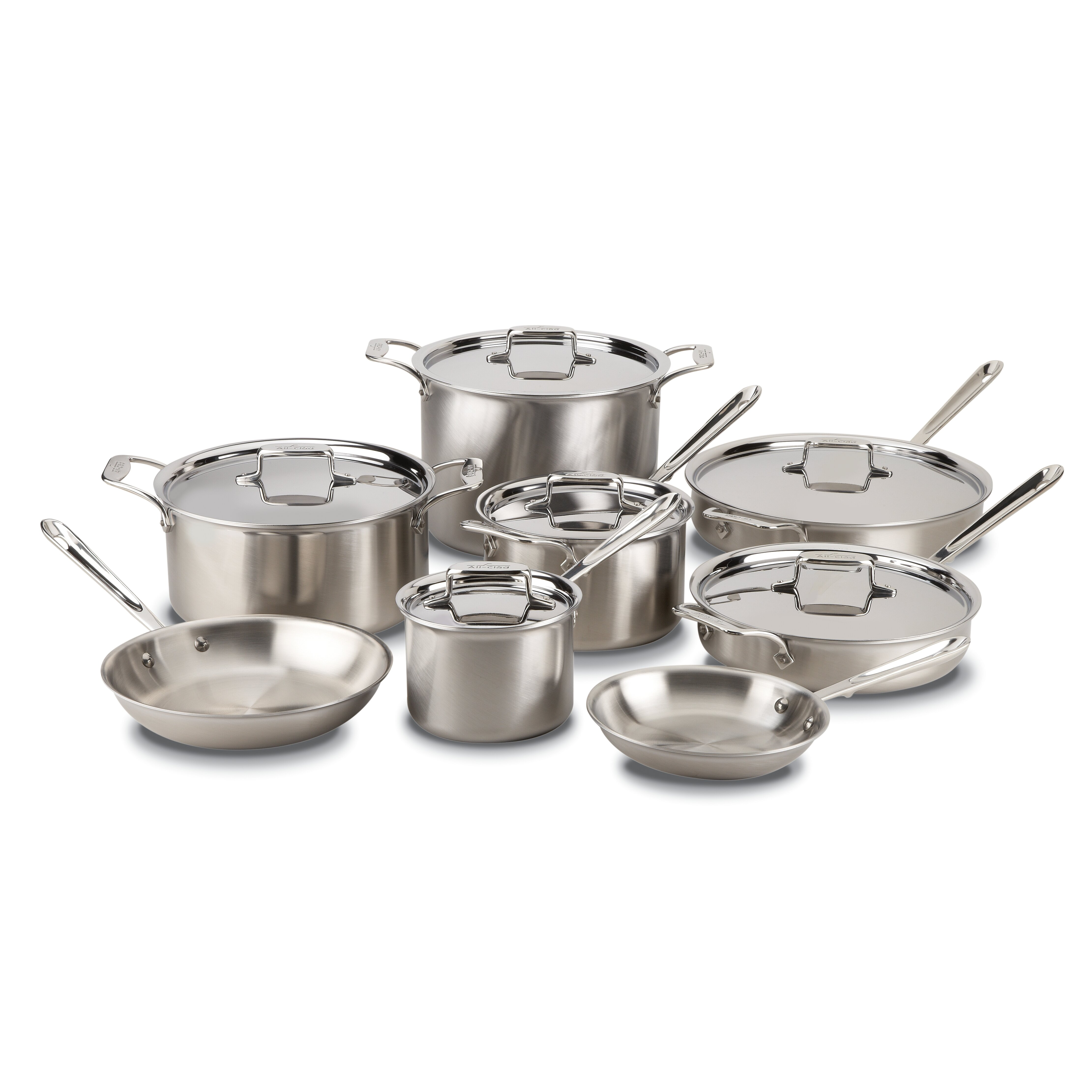 All clad stainless steel cookware sets - All Clad Brushed Stainless Steel 14 Piece Cookware Set