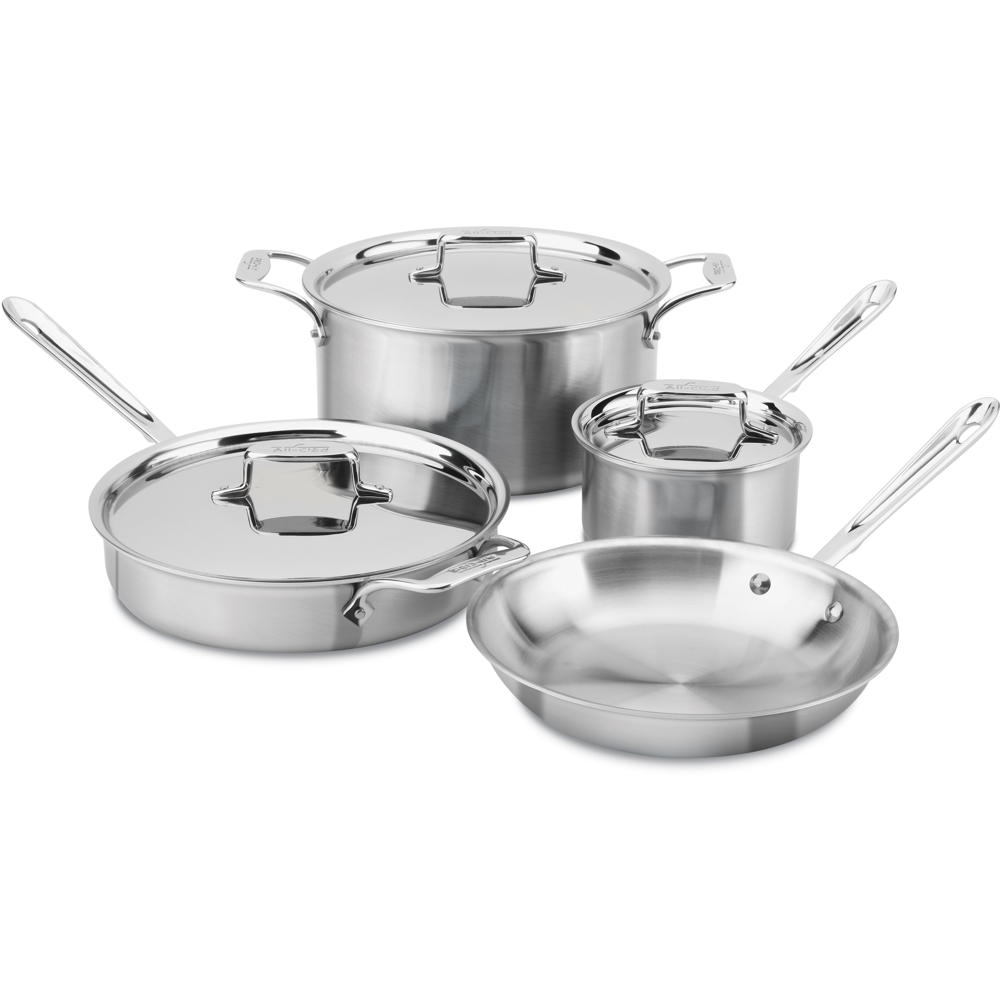 All clad stainless steel cookware sets - All Clad Brushed Stainless Steel 7 Piece Cookware Set