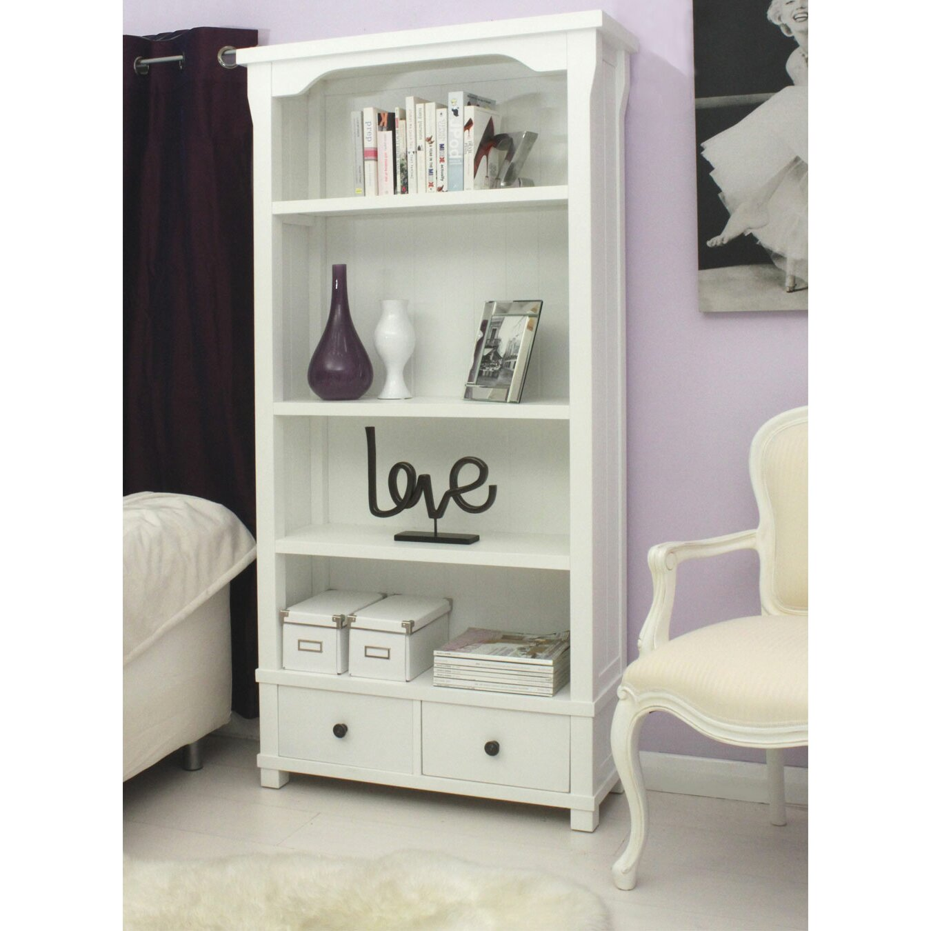 Baumhaus Hampton White Painted Tall Wide 182cm Standard Bookcase & Reviews | Wayfair.co.uk