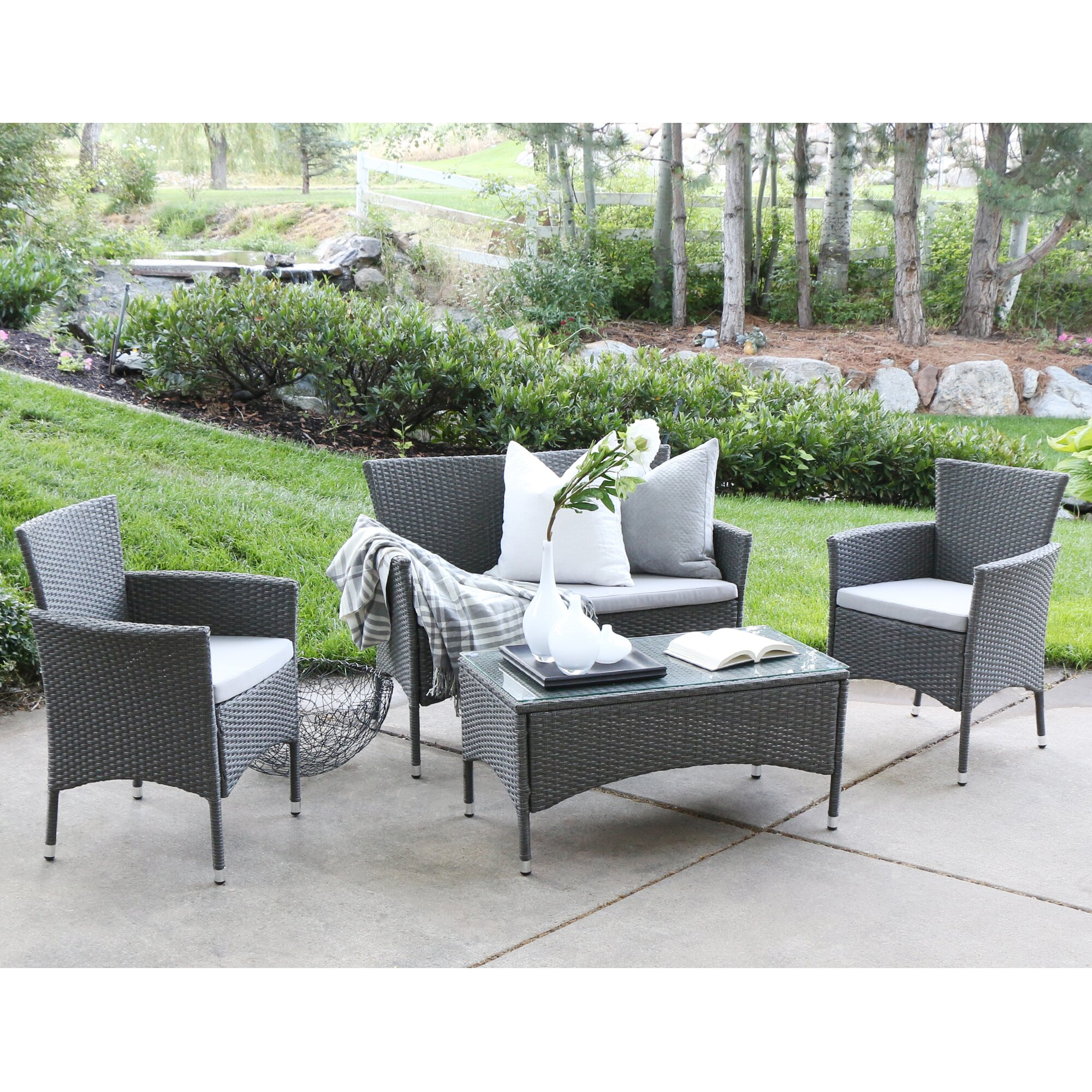 Angelo home baxter 4 piece lounge seating group with cushions reviews wayfair supply Angelo home patio furniture