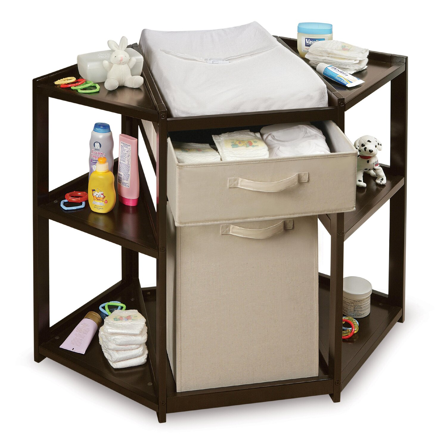 Badger Basket Diaper Corner Baby Changing Table With