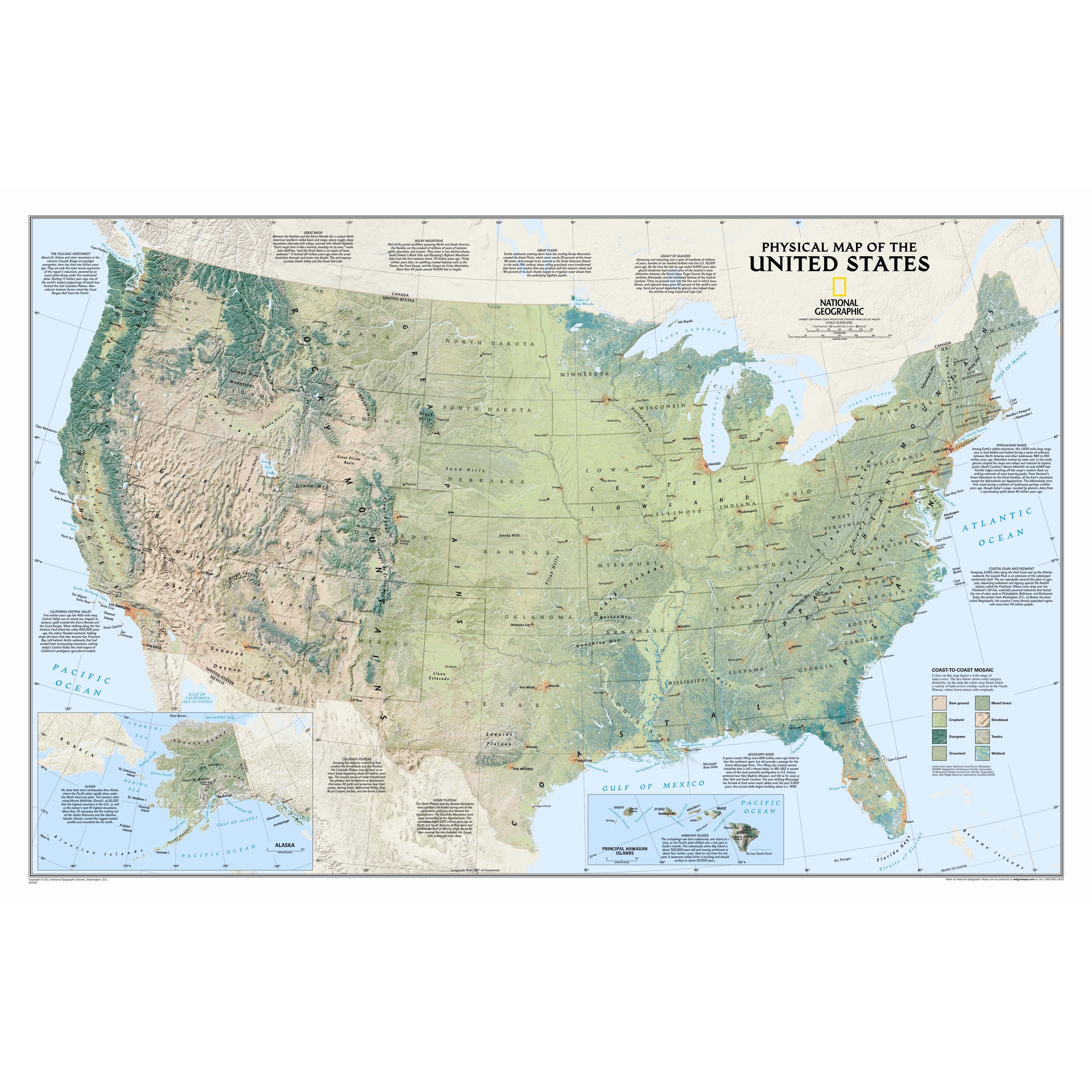 US Wall Maps Laminated US Map Posters National Geographic Store - Five us counties