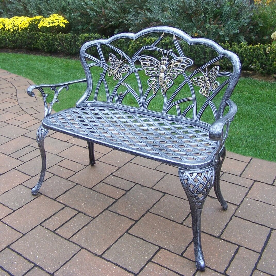 Butterfly metal chair - Oakland Living Butterfly Aluminum Garden Bench