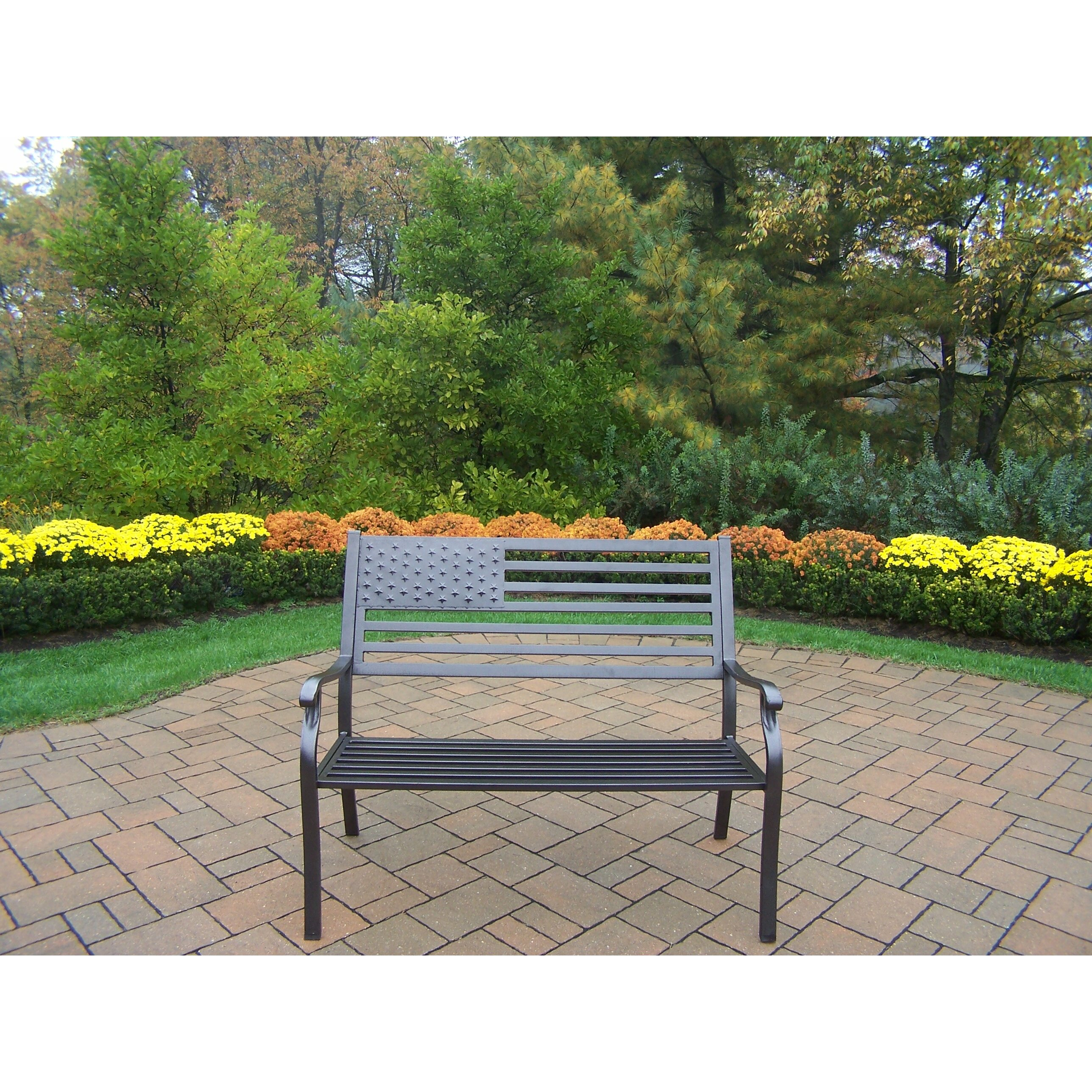 ... Patio Swivel Club Chair Side View; Oakland Living Rochester American  Pride Flag Metal Garden Bench ...