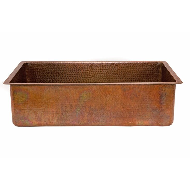 """premier copper products 33"""" x 19"""" antique hammered single bowl"""