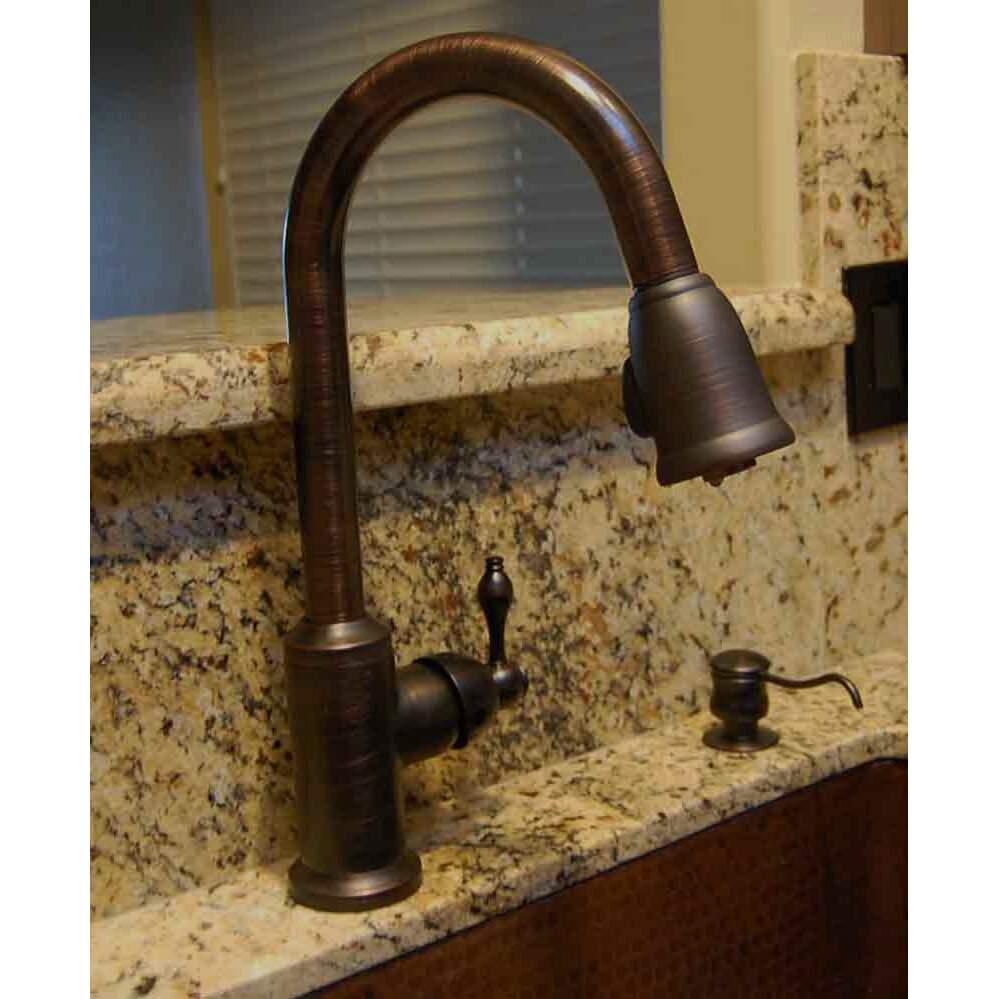 Pull Out Spray Kitchen Faucets Premier Copper Products Single Handle Kitchen Faucet With Pullout