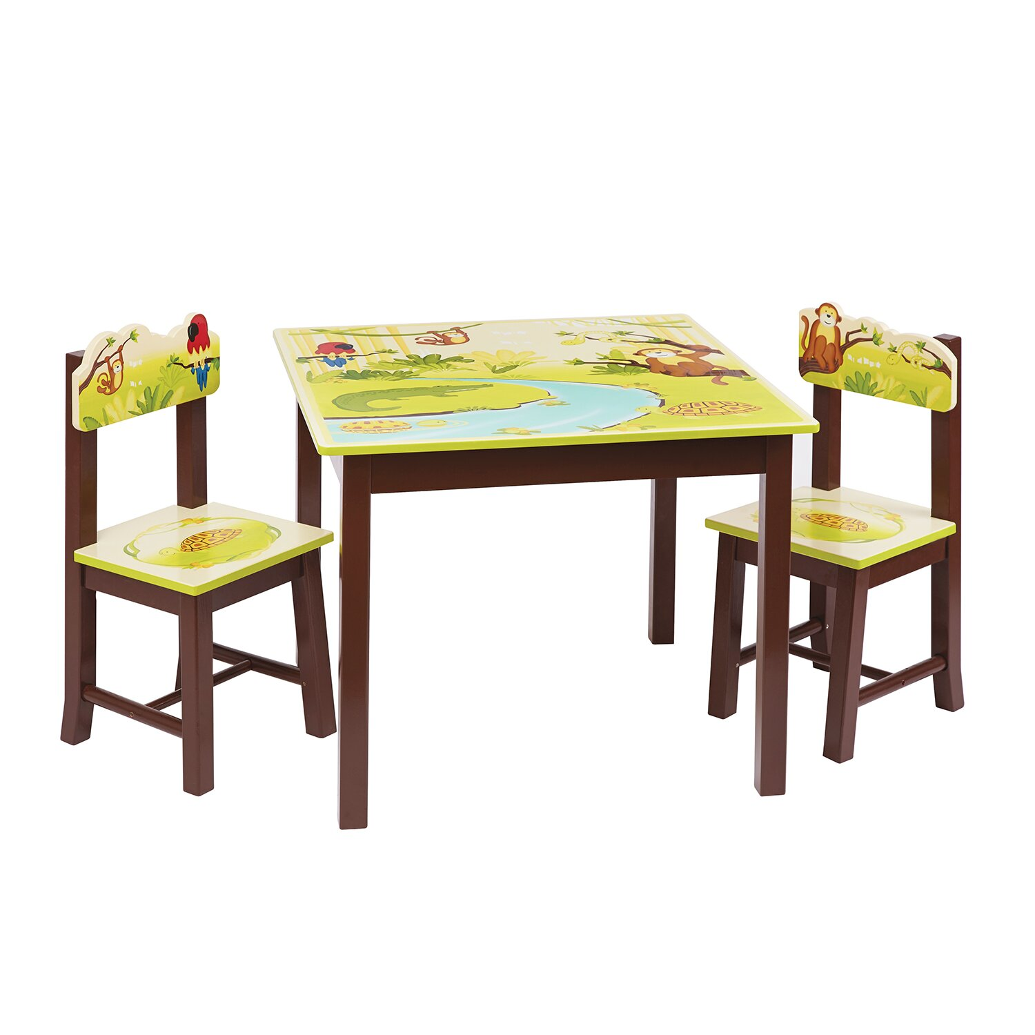 Table Set For Kids Guidecraft Jungle Party Kids 3 Piece Rectangle Table And Chair Set