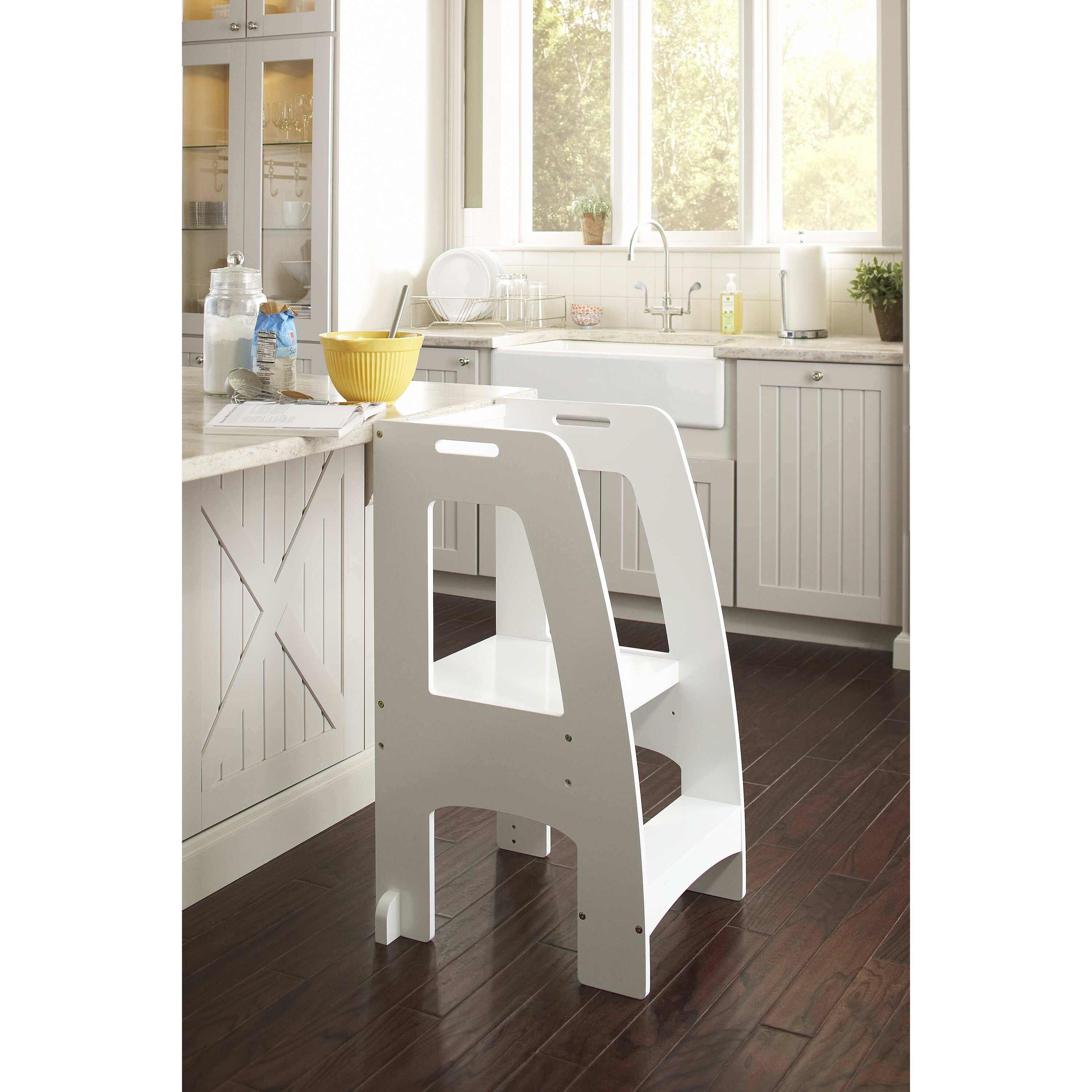 Wooden step stool for kitchen - Guidecraft Household Helper 2 Step Kitchen Helper