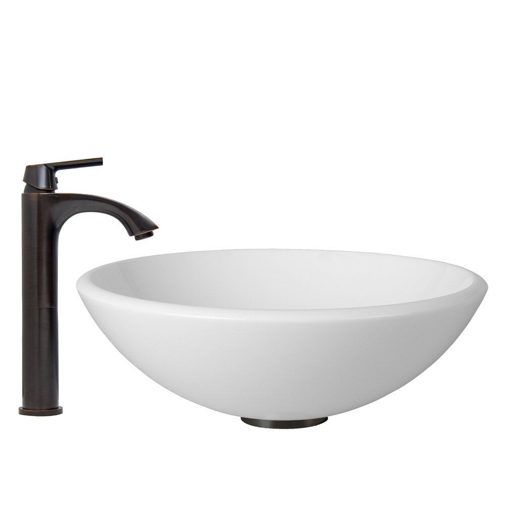 White Phoenix Stone Vessel Sink and Linus Vessel Faucet with Pop Up by ...