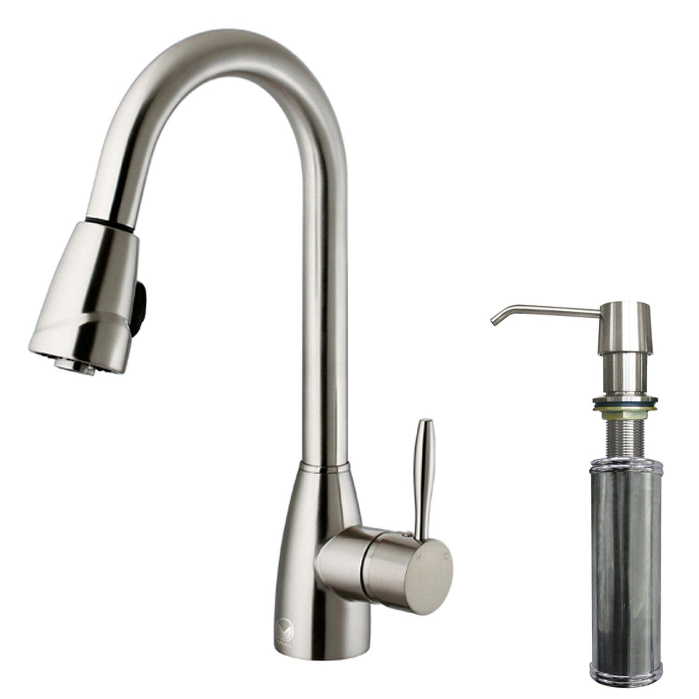 Kitchen Single Handle Faucet Vigo Graham Single Handle Pull Down Spray Kitchen Faucet With Soap