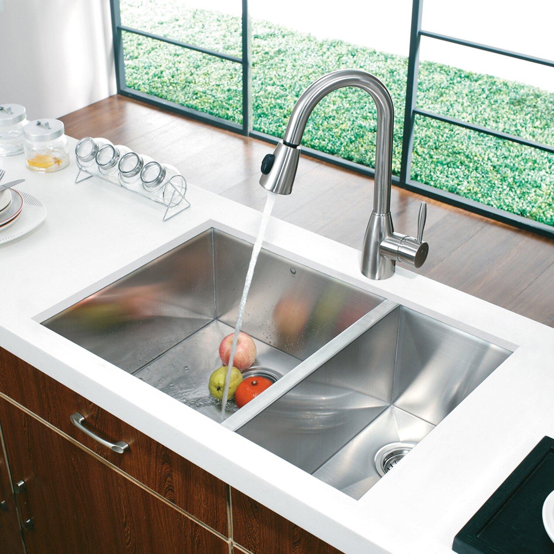 30 Kitchen Sink #33: Vigo Alma 29 Inch Undermount 70/30 Double Bowl 16 Gauge Stainless Steel Kitchen Sink