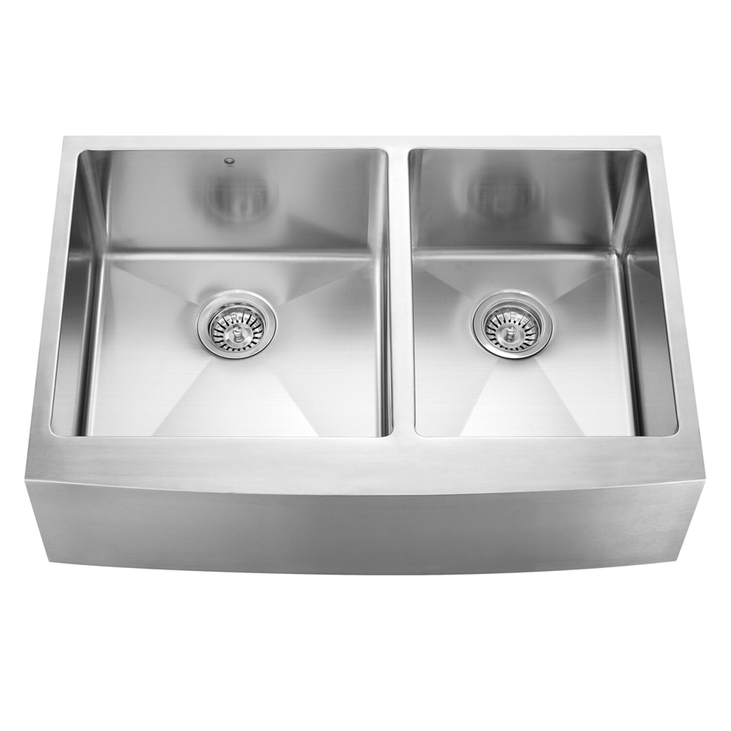 Farmhouse Apron Kitchen Sinks Vigo Alma 33 Inch Farmhouse Apron 60 40 Double Bowl 16 Gauge