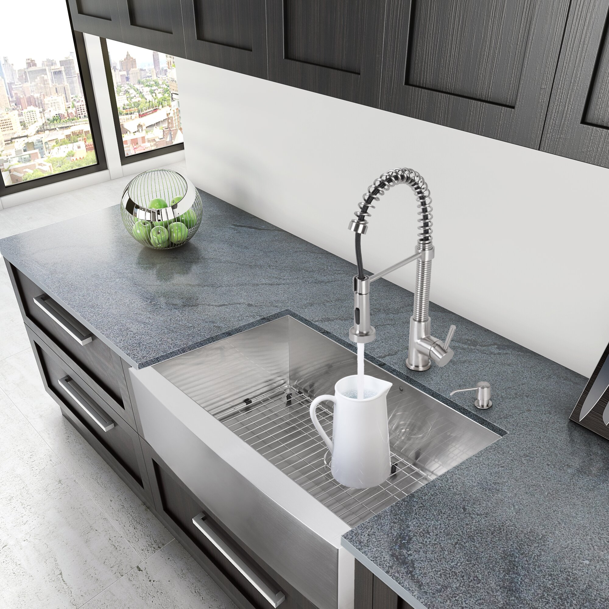 Charming 30 Kitchen Sink #13: Vigo Alma 30u0026amp;quot; Farmhouse Apron Single Bowl 16 Gauge Stainless Steel Kitchen Sink
