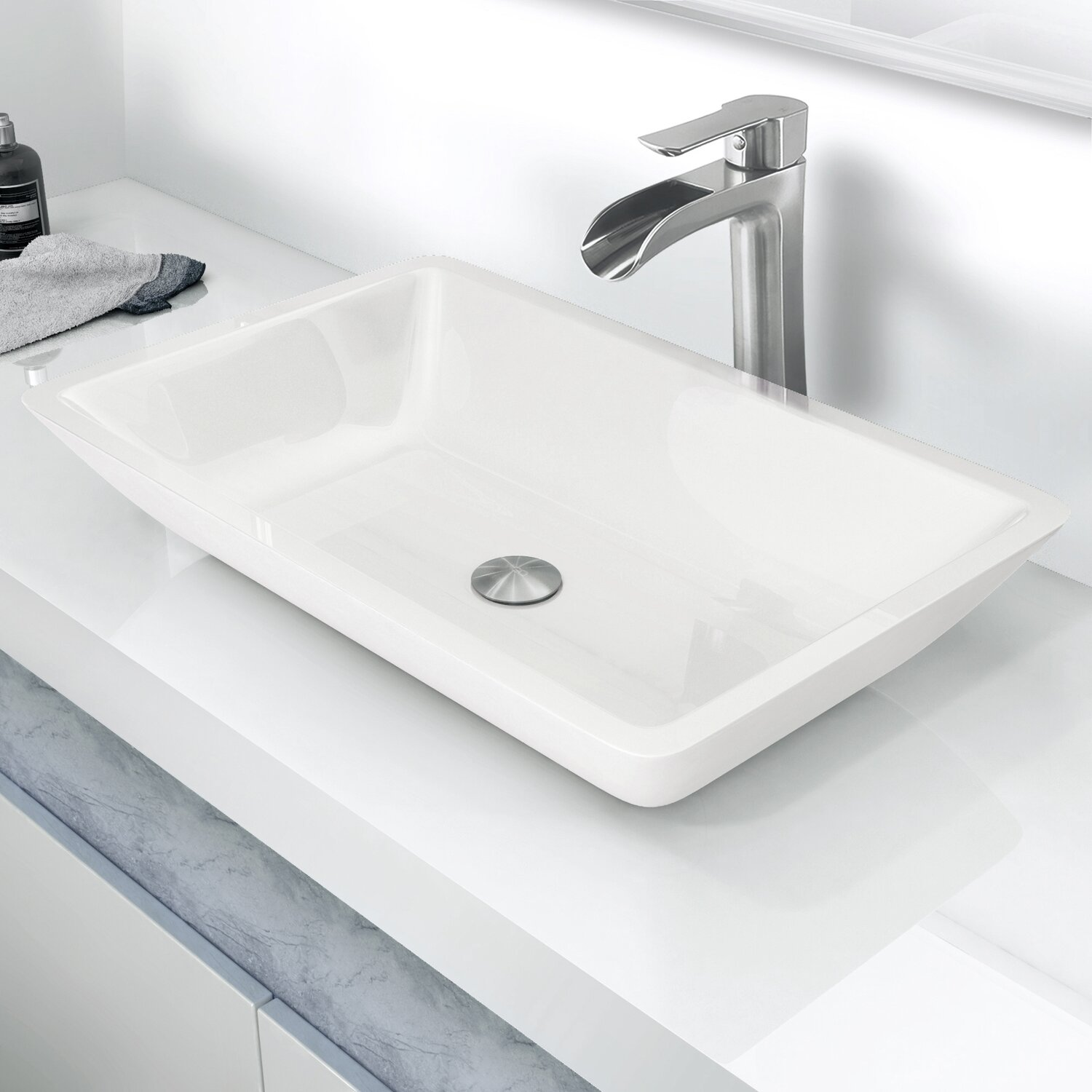Rectangular Bathroom Sinks Vigo Flat Edged Phoenix Stone Rectangular Vessel Bathroom Sink