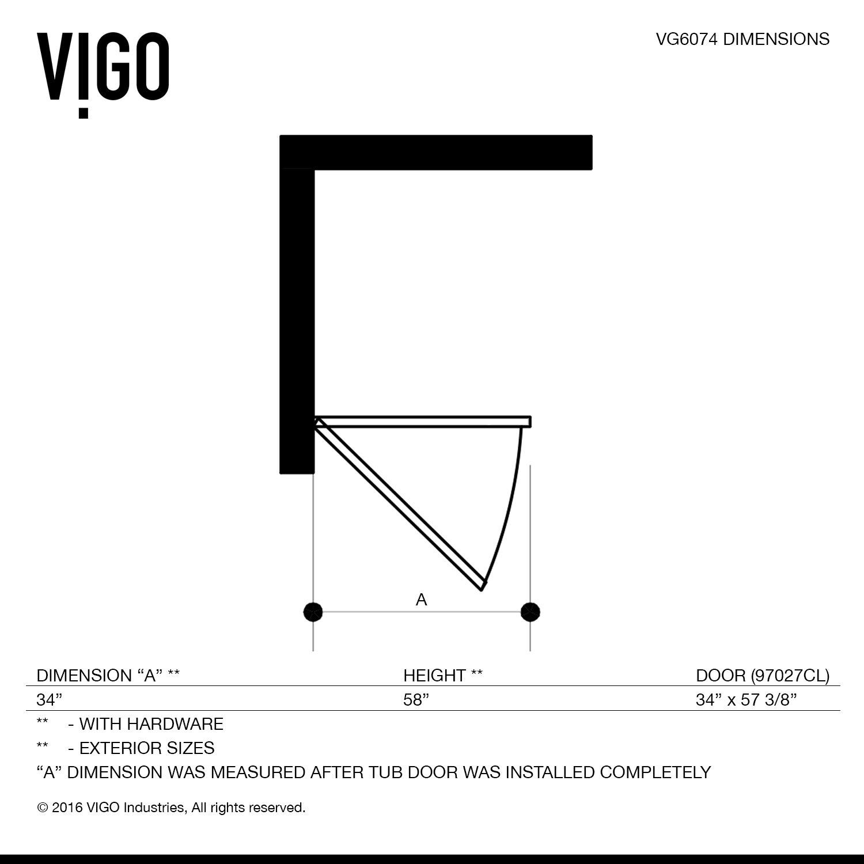 Vigo Rialto 34 Quot X 58 Quot Hinged Bathtub Door Amp Reviews