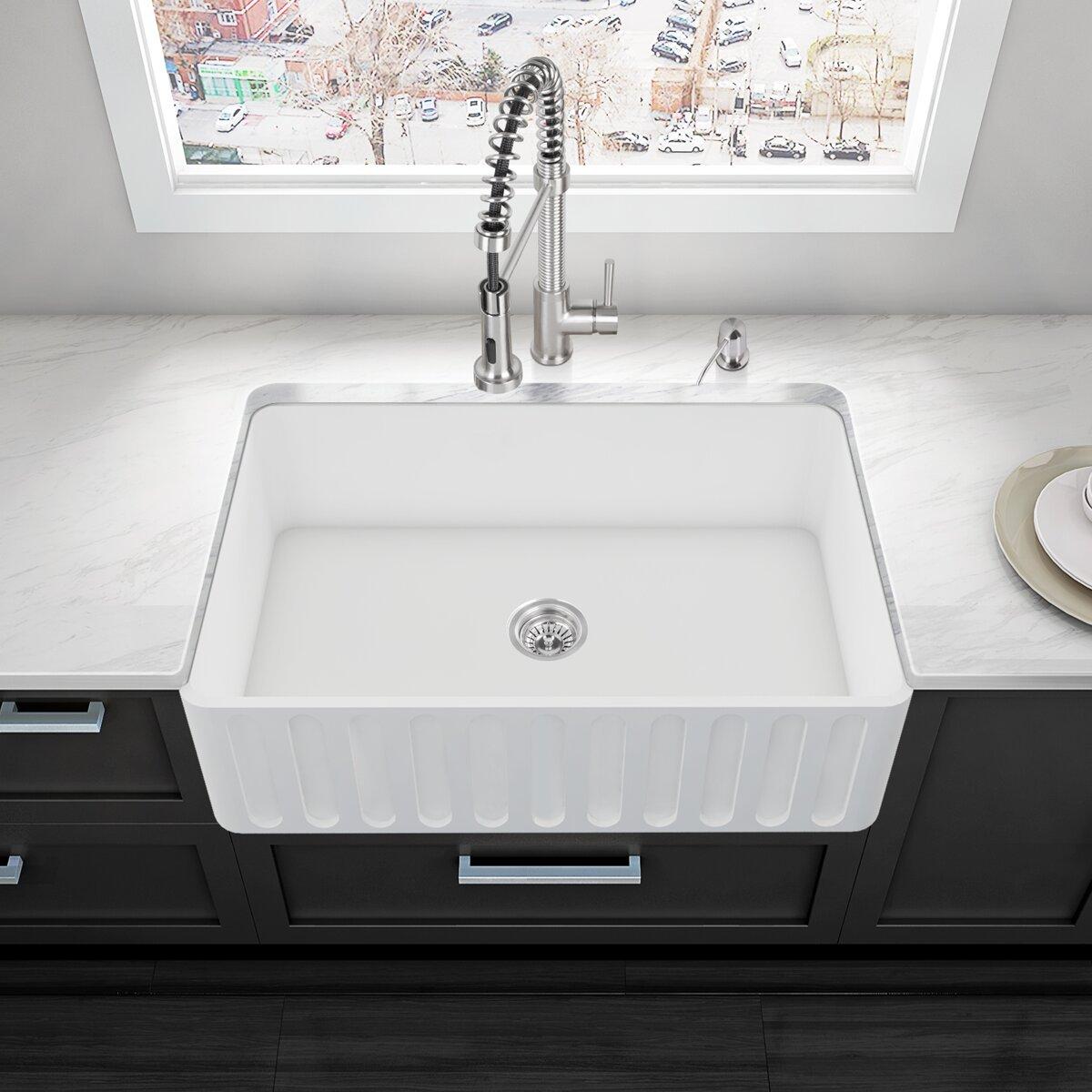 Kitchens With Farmhouse Sinks Vigo 33 X 18 Farmhouse Kitchen Sink Reviews Wayfair
