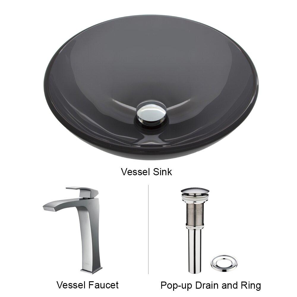 Vessel Sink Plumbing : ... Glass Vessel Bathroom Sink and Blackstonian Vessel Faucet with Pop Up