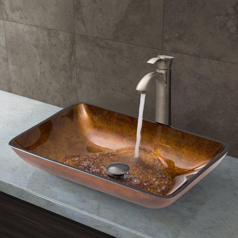 Rectangular Glass Vessel Sink : Rectangular Russet Glass Vessel Bathroom Sink and Otis Vessel Faucet ...